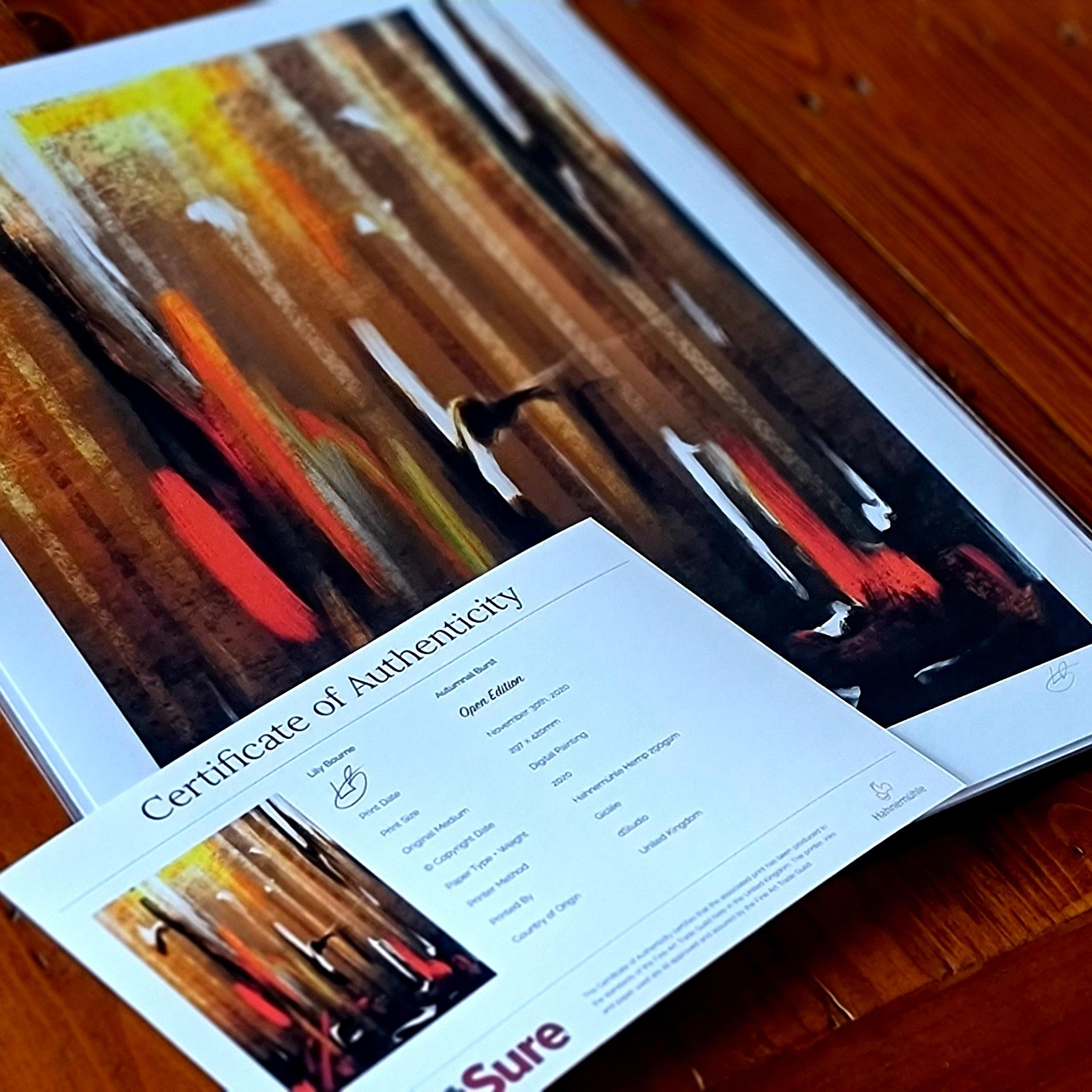An abstract digital painting by Lily Bourne printed on eco fine art paper titled Autumnal Burst showing orange, red, white and black downward strokes portraying trees with the colours of autumn. Print shown with certificate.