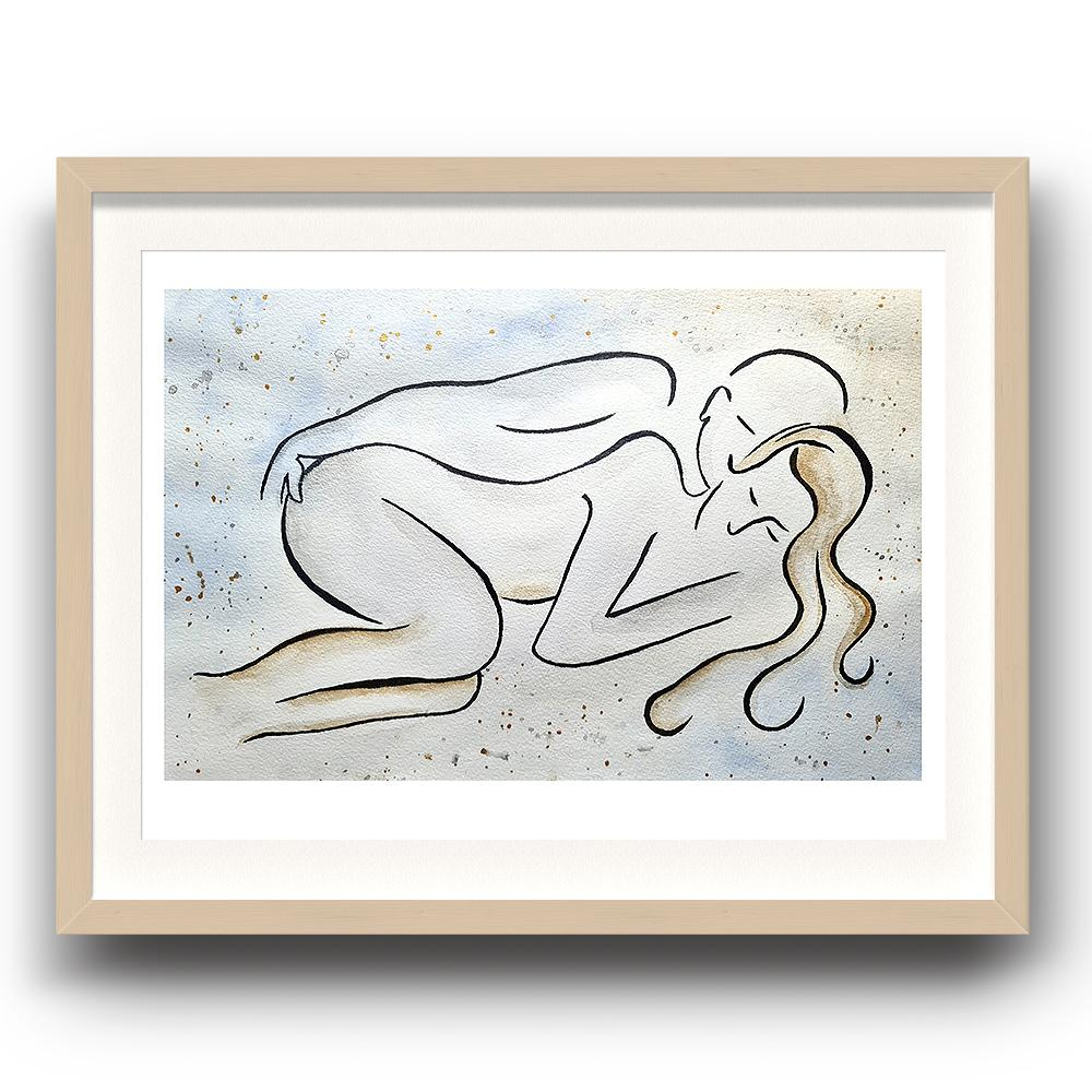 A watercolour and ink piece of art by Clarrie-Anne giclée printed on eco fine art paper titled Couple Love shown a line drawn couple lying next to each other with a watercolour wash and splash background. The image is set in a beech coloured picture frame.