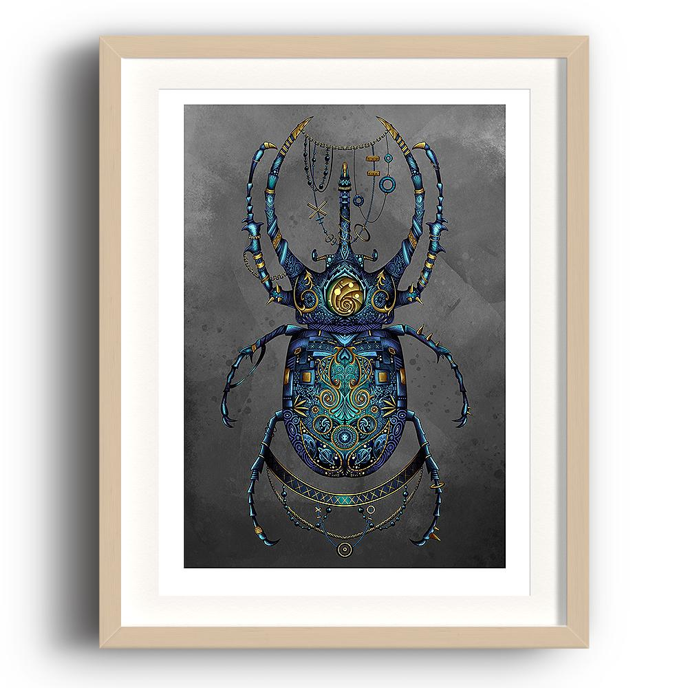 A digital painting by Lily Bourne printed on eco fine art paper titled Beetle showing a jewel encrusted beetle coloured blue and turquoise with grey background in a steam punk style. The image is set in a beech coloured picture frame.