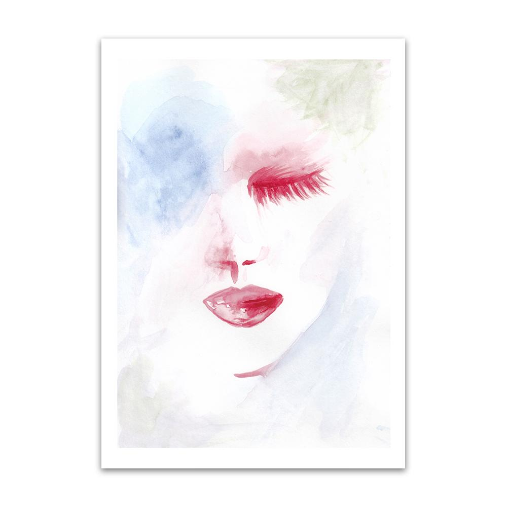 A watercolour print by Clarrie-Anne on eco fine art paper titled Dreaming showing a pale blue washed background with a red shut eyes and lips.