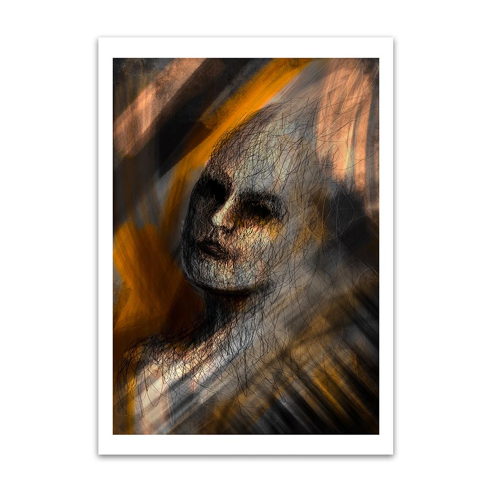 A digital painting called Composition 1.0 by Lily Bourne showing a the head of a female filled in with line art placed on a yellow and grey background with paint strokes.