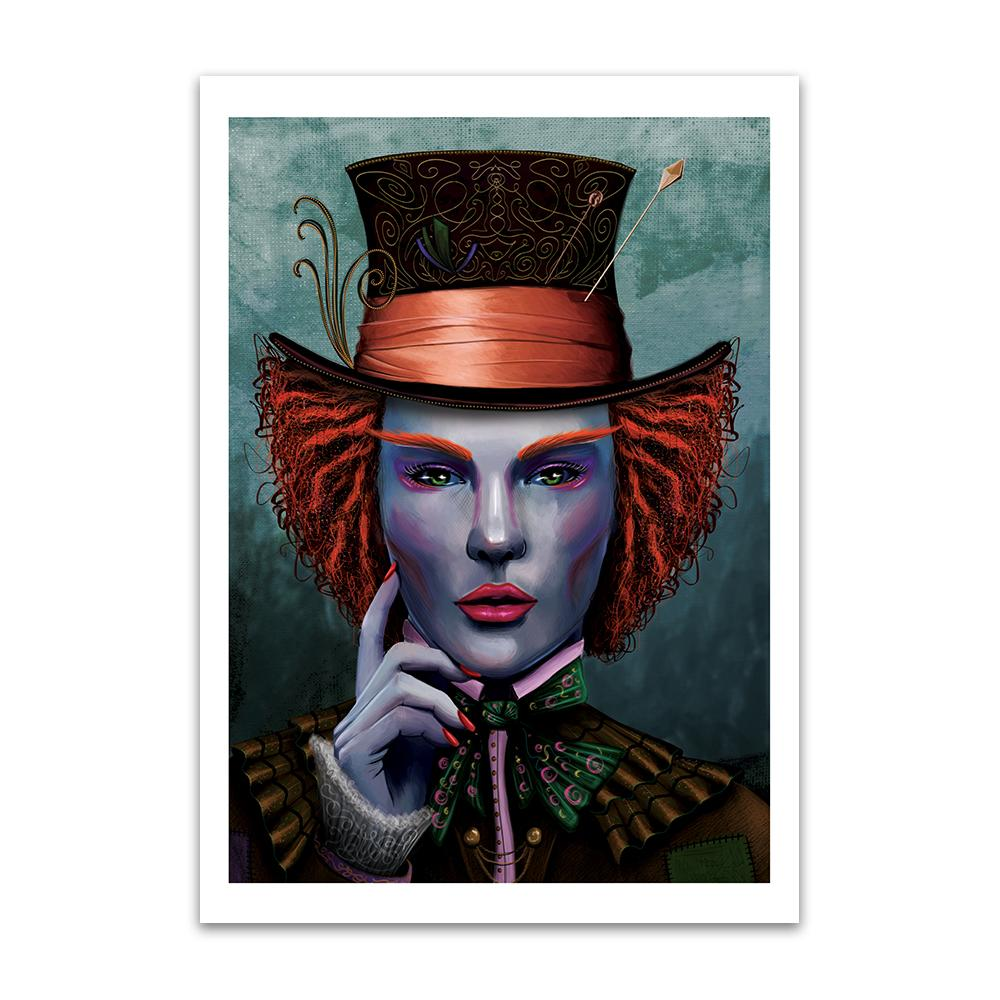 A digital painting called I Am by Lily Bourne showing face on portrait based on the character of The Mad Hatter with colourful hat and makeup.
