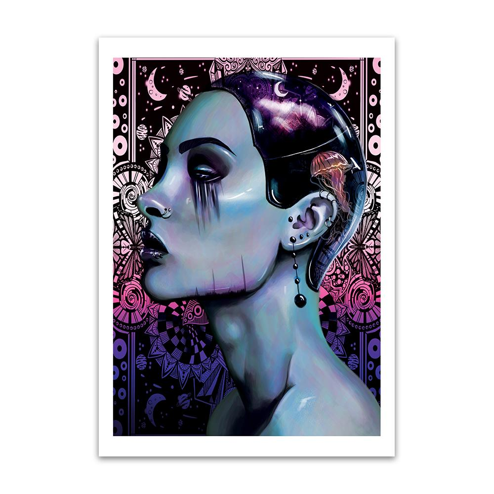A digital painting called Depth by Lily Bourne a lilac image of a lady with a stenciled background. The lady wears a a tight skull cap with a jelly fish on it. The lady has artisitc makeup.