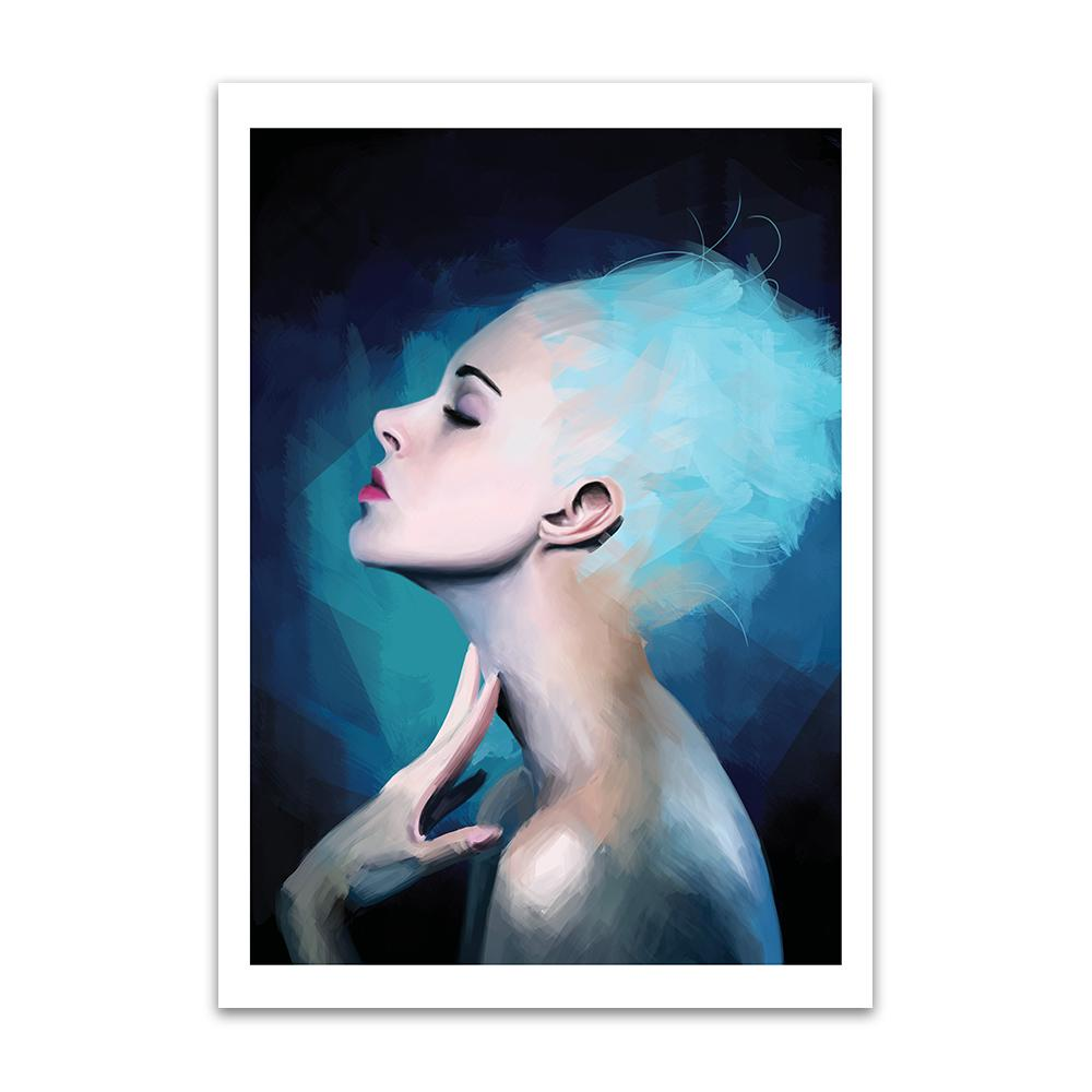 A digital painting called Pensive by Lily Bourne showing a confident blue haired from the side posing for an artist.