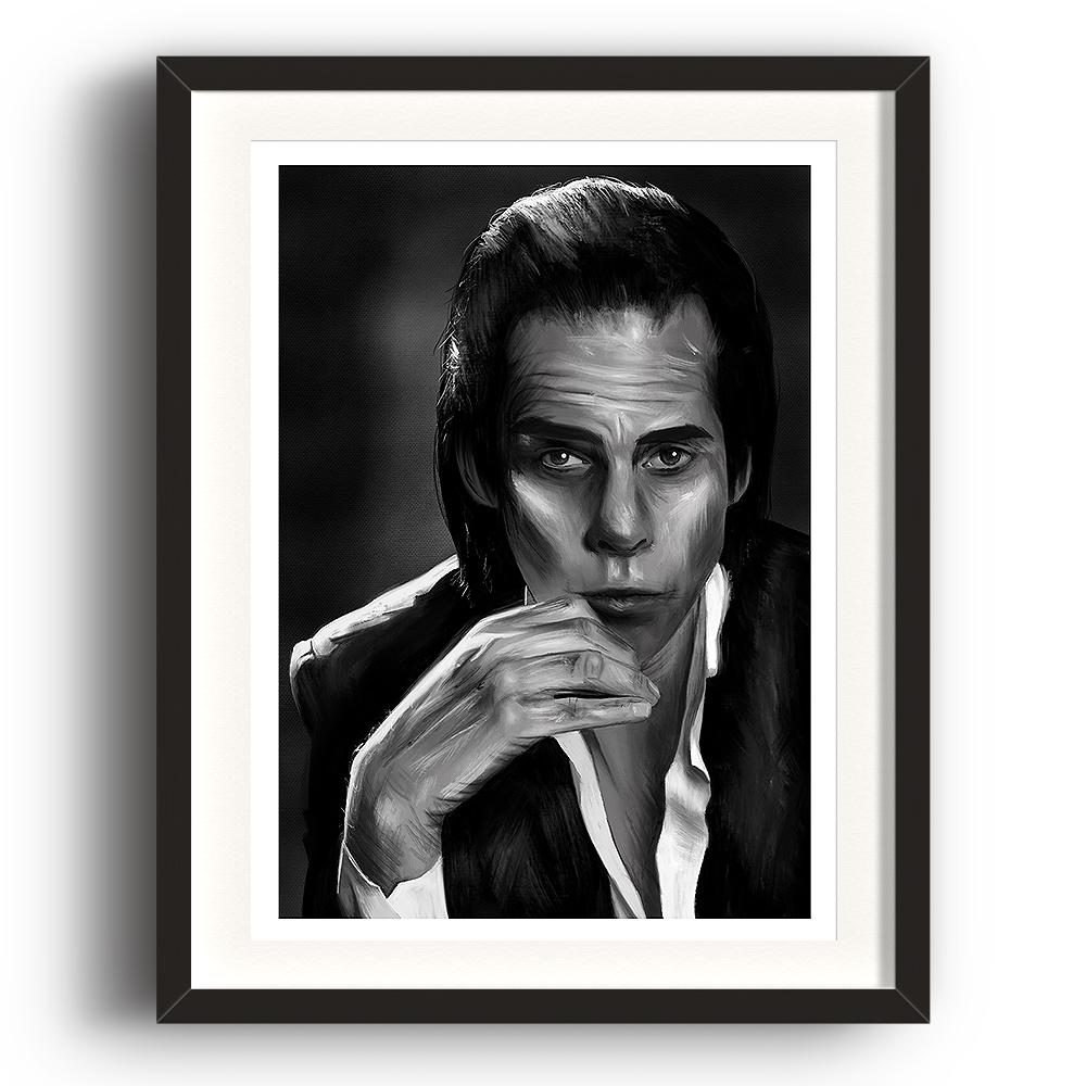 A digital painting called Nick Cave Study 1 by Lily Bourne showing black and white posed image of songwriter and performer Nick Cave. The image is set in a black coloured picture frame.
