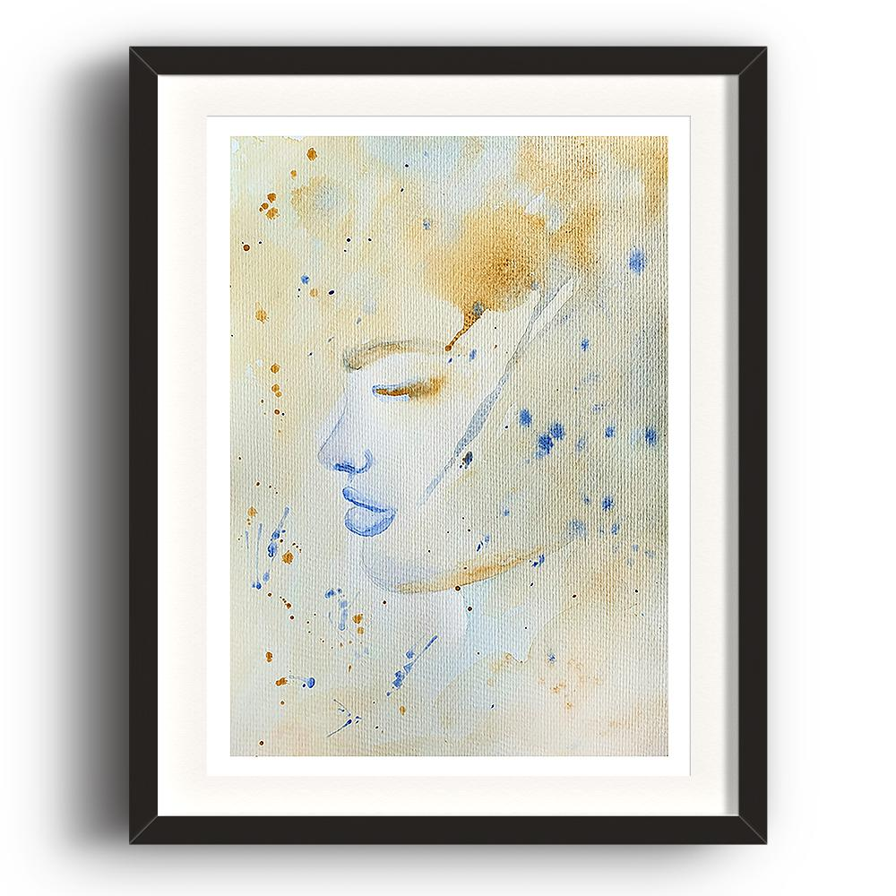 A watercolour print by Clarrie-Anne on eco fine art paper titled Tea Storm showing a washed and spotted watercolour colour background of the side profile of a female face with blue lips. The image is set in a black coloured picture frame.