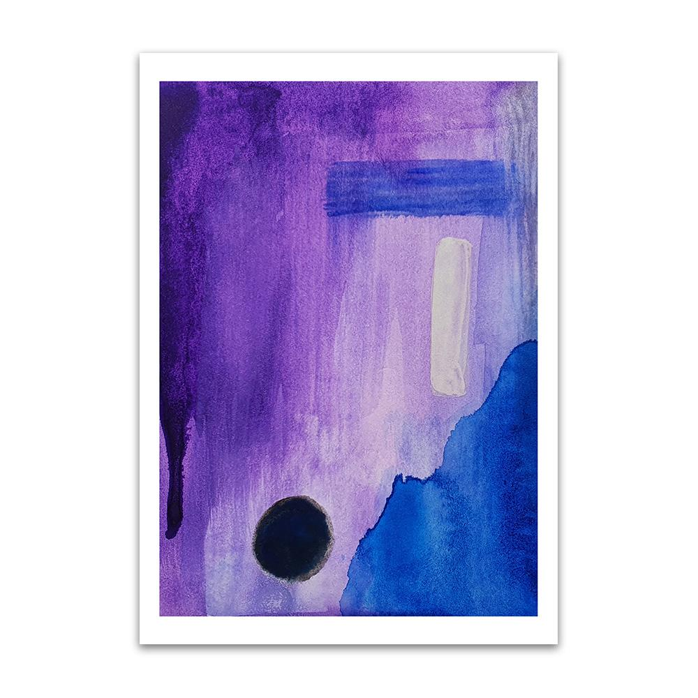 An abstract watercolour print by Clarrie-Anne on eco fine art paper titled Darkness With Open Eyes showing a purple blue and black design.
