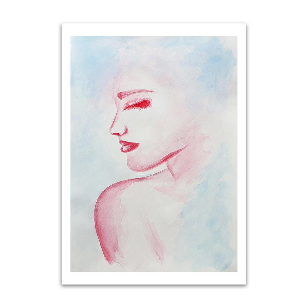 A watercolour print by Clarrie-Anne on eco fine art paper titled Solitude showing the head and shoulder of a female looking right painted in red with a blue wash background.