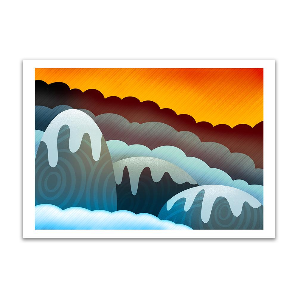 A digital painting called Mountain Glow by Lily Bourne showing an orange sky with snow covered rounded animated mountains.