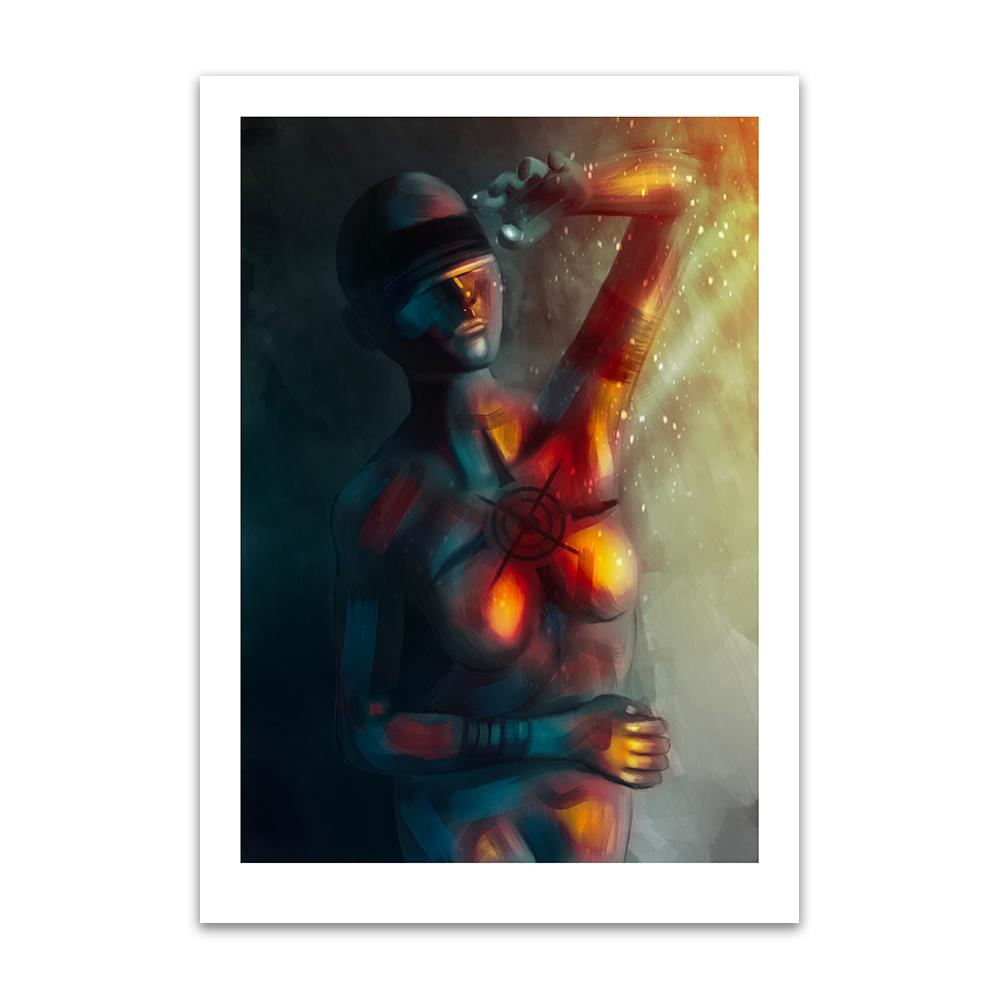 A digital painting by Lily Bourne printed on eco fine art paper titled Enlightened Moment showing an abstract blindfolded woman shielding herself from bright light and warmth.