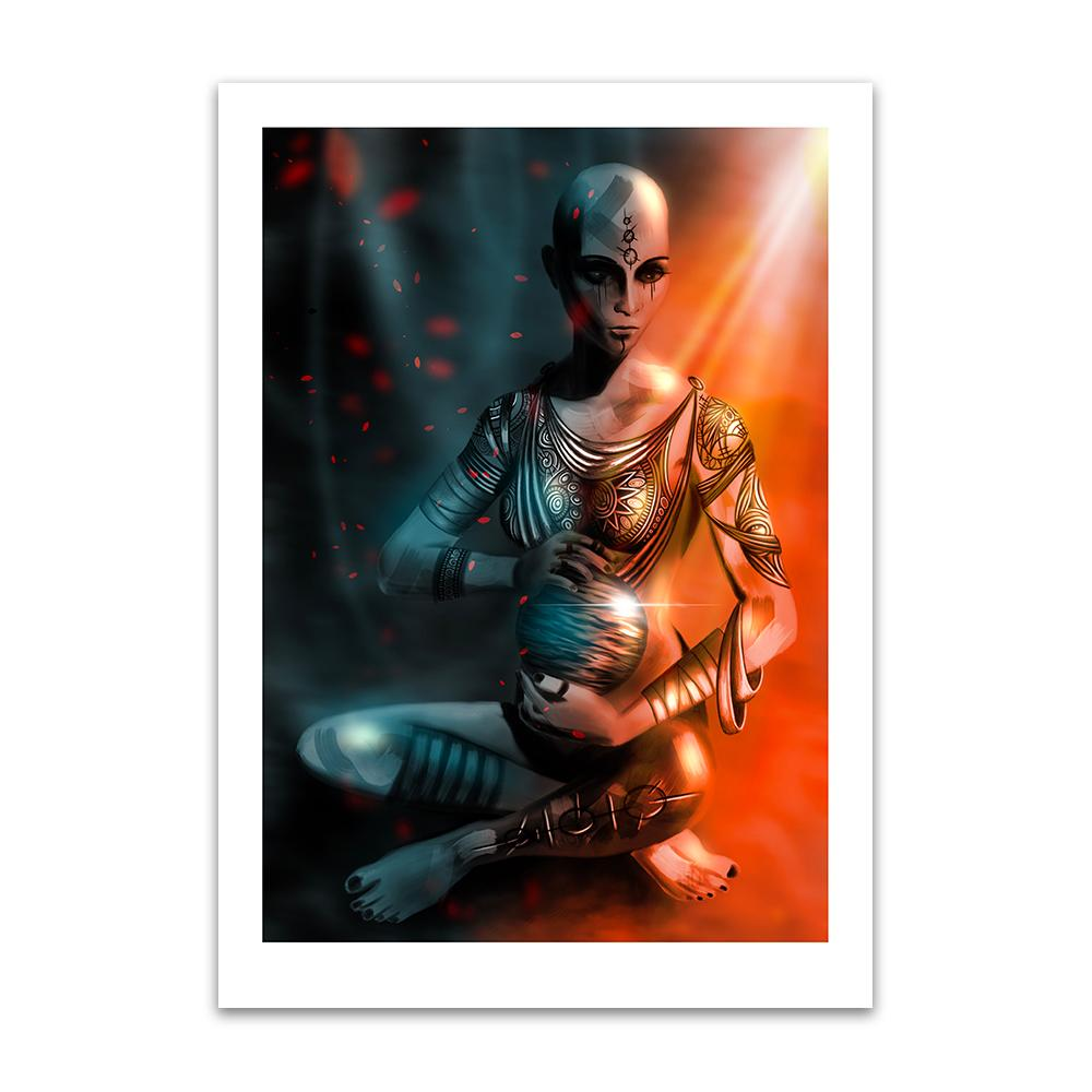 A digital painting by Lily Bourne printed on eco fine art paper titled Exist which shows a shaven headed tattooed female sitting cross legged hold a shining sphere with light cascading from above.