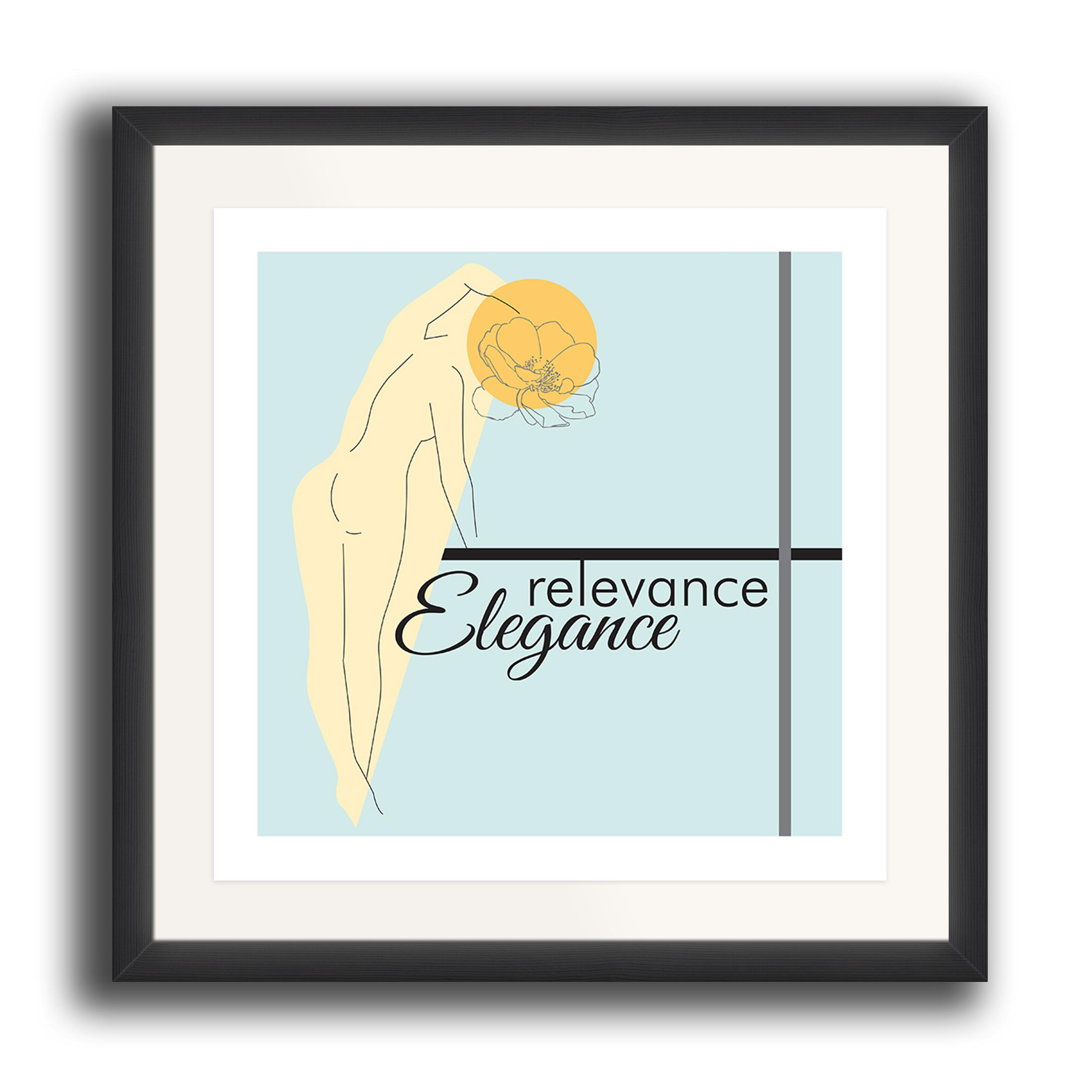 A watercolour print by Clarrie-Anne on eco fine art paper titled Relevance Elegance showing outline of a female with a line drawn flow head and typography with coloured shapes. The image is set in a black coloured picture frame.