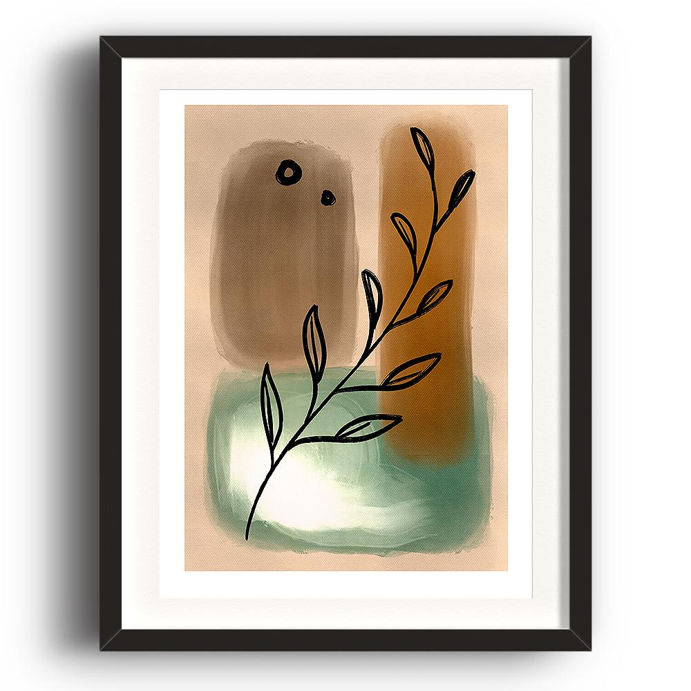 An abstract digital painting by Lily Bourne printed on eco fine art paper titled Tranquil Moment showing a line drawn olive branch over neutral green and brown painted hues. An abstract digital painting by Lily Bourne printed on eco fine art paper titled Tranquil Moment showing a line drawn olive branch over neutral green and brown painted hues. The image is set in a black coloured picture frame.