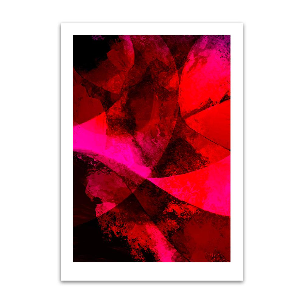 A digital painting by Lily Bourne printed on eco fine art paper titled Red Passion From Within showing a series of curved lines and textures colour red, bright pink and black.