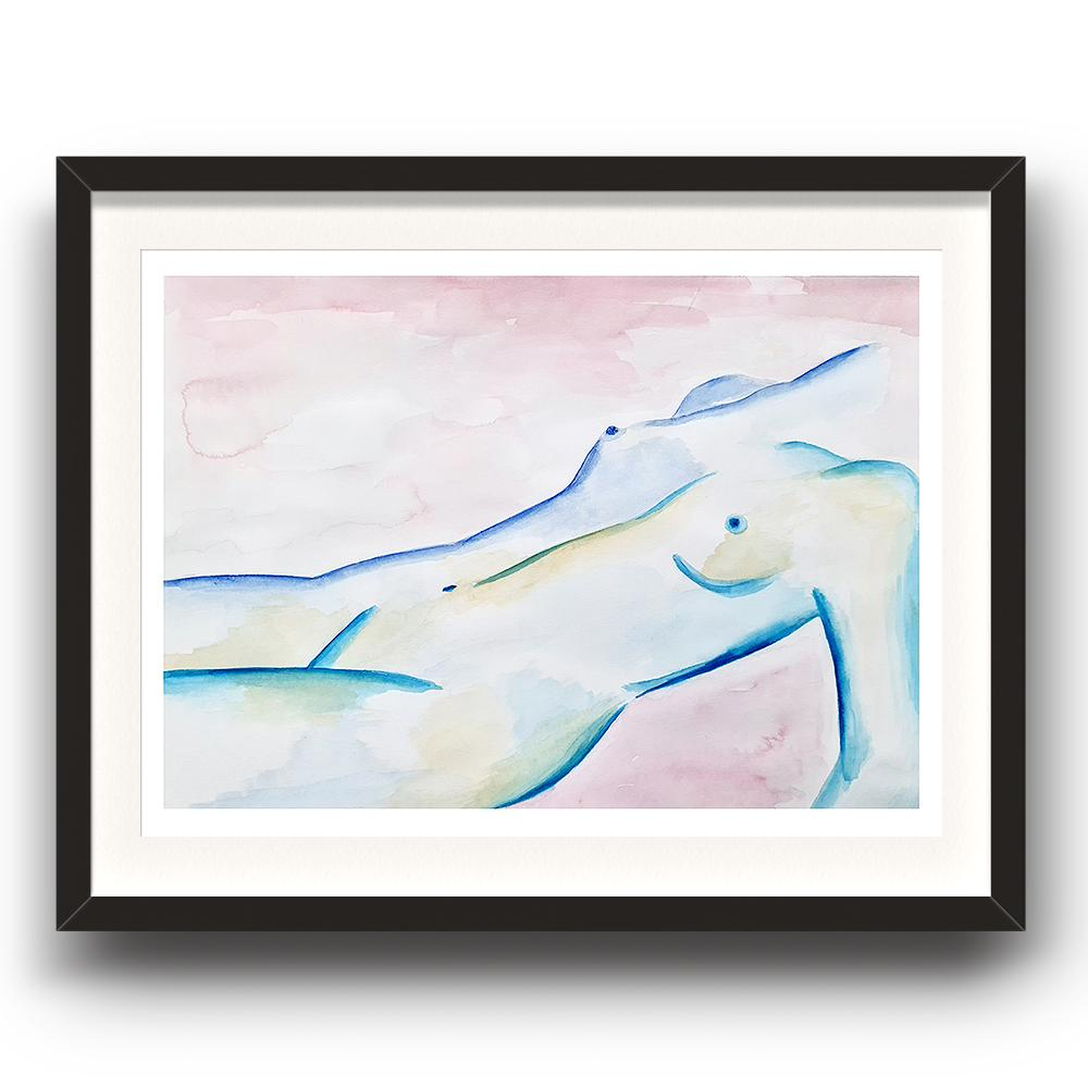 A watercolour print by Clarrie-Anne on eco fine art paper titled Subdued showing a pink wash background with a blue line naked female lying down. The image is set in a black coloured picture frame.