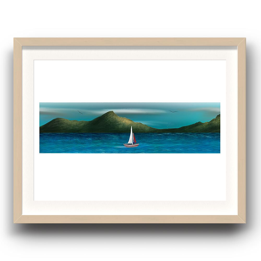 A digital painting by Lily Bourne printed on eco fine art paper titled Just Breath 1.2 showing a landshape view of a sail boat with one person sailing on open water with mountains behinds and birds flying above. The image is set in a beech coloured picture frame.