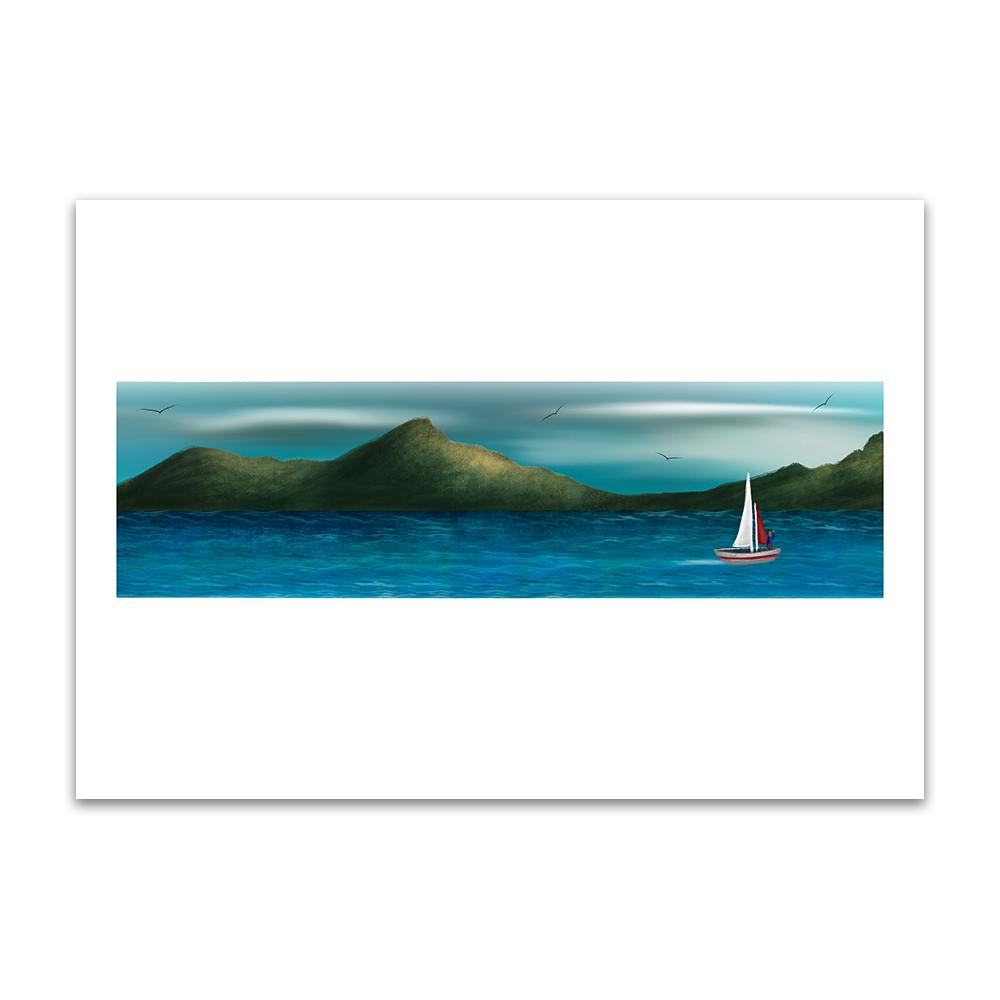A digital painting by Lily Bourne printed on eco fine art paper titled Just Breath 1.3 showing a landshape view of a sail boat with one person sailing on open water with mountains behinds and birds flying above.