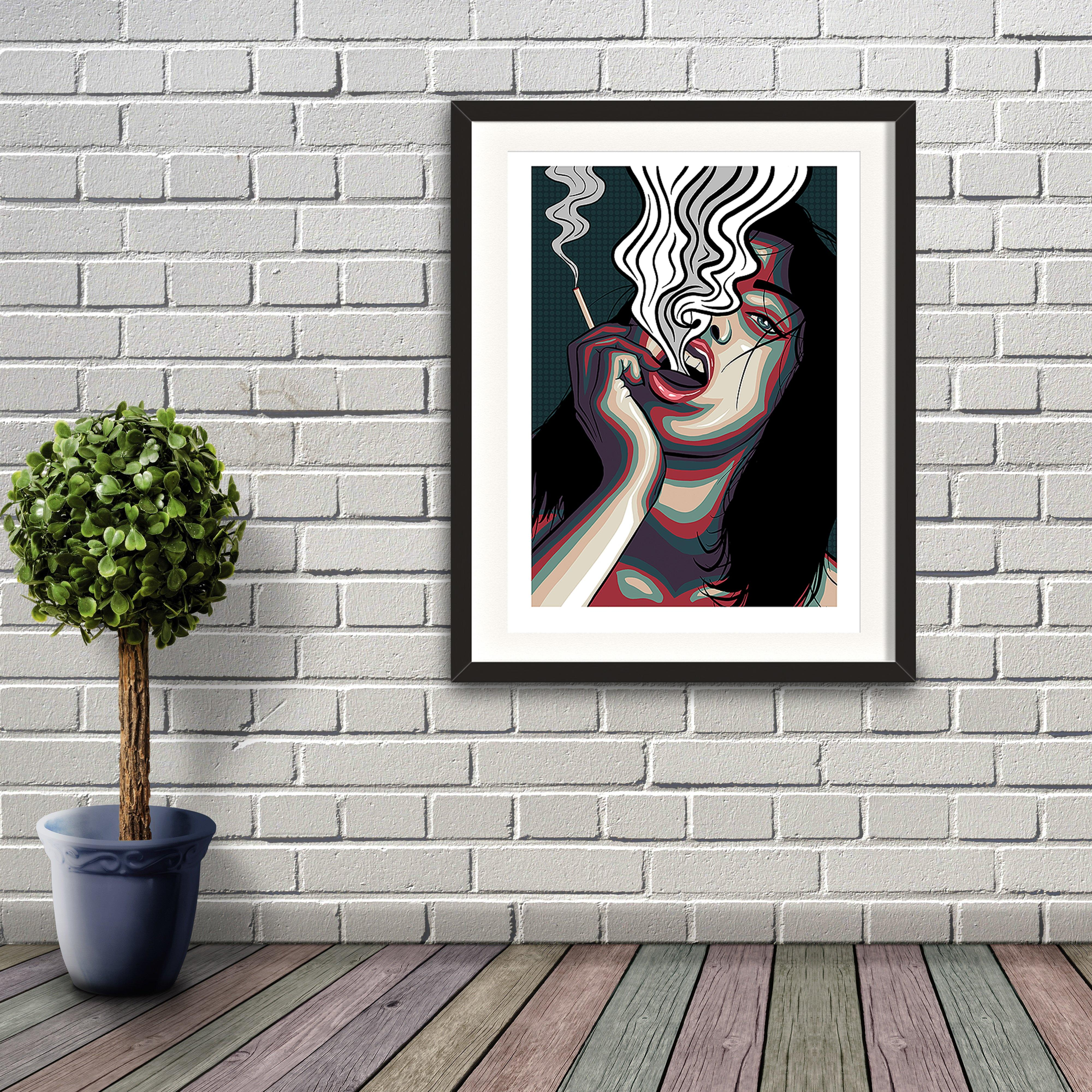 A digital pop art painting by Lily Bourne printed on eco fine art paper titled Release showing showing a female exhale smoke from a cigarette which is holding. Artwork shown is a black frame hanging on a brick wall.