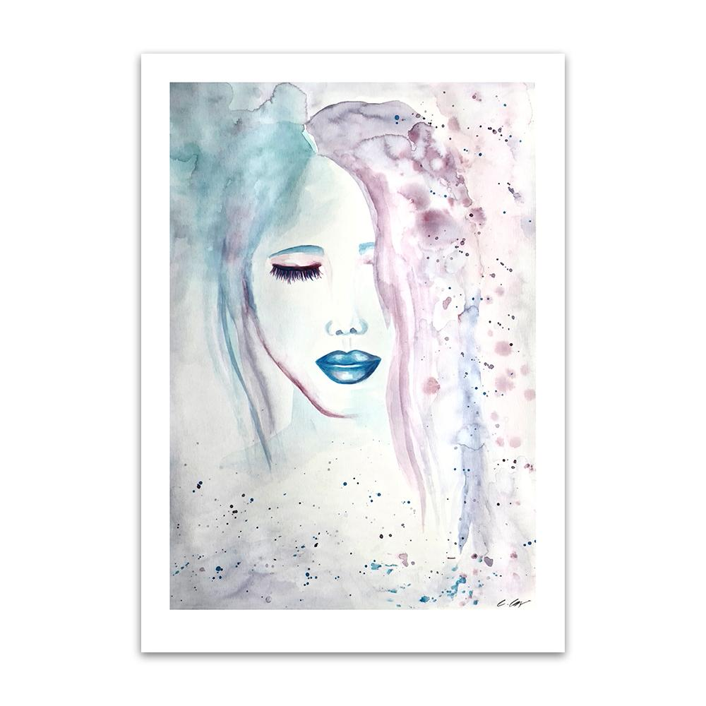 A limited edition watercolour print by Clarrie-Anne on eco fine art paper titled Compassion showing a female face, eyes shut with blue lips.
