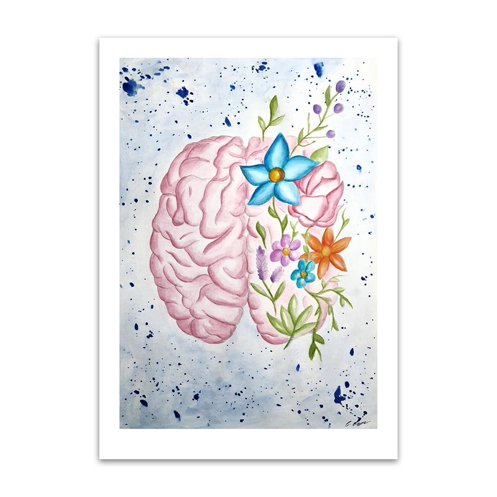 A watercolour print by Clarrie-Anne on eco fine art paper titled Mindfulness showing a brain with flowers surrounding it.