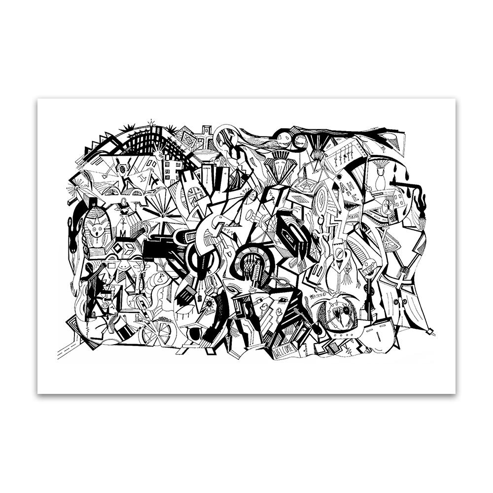 A fine art print from Jason Clarke titled Congestion drawn with a black Pentel pen.