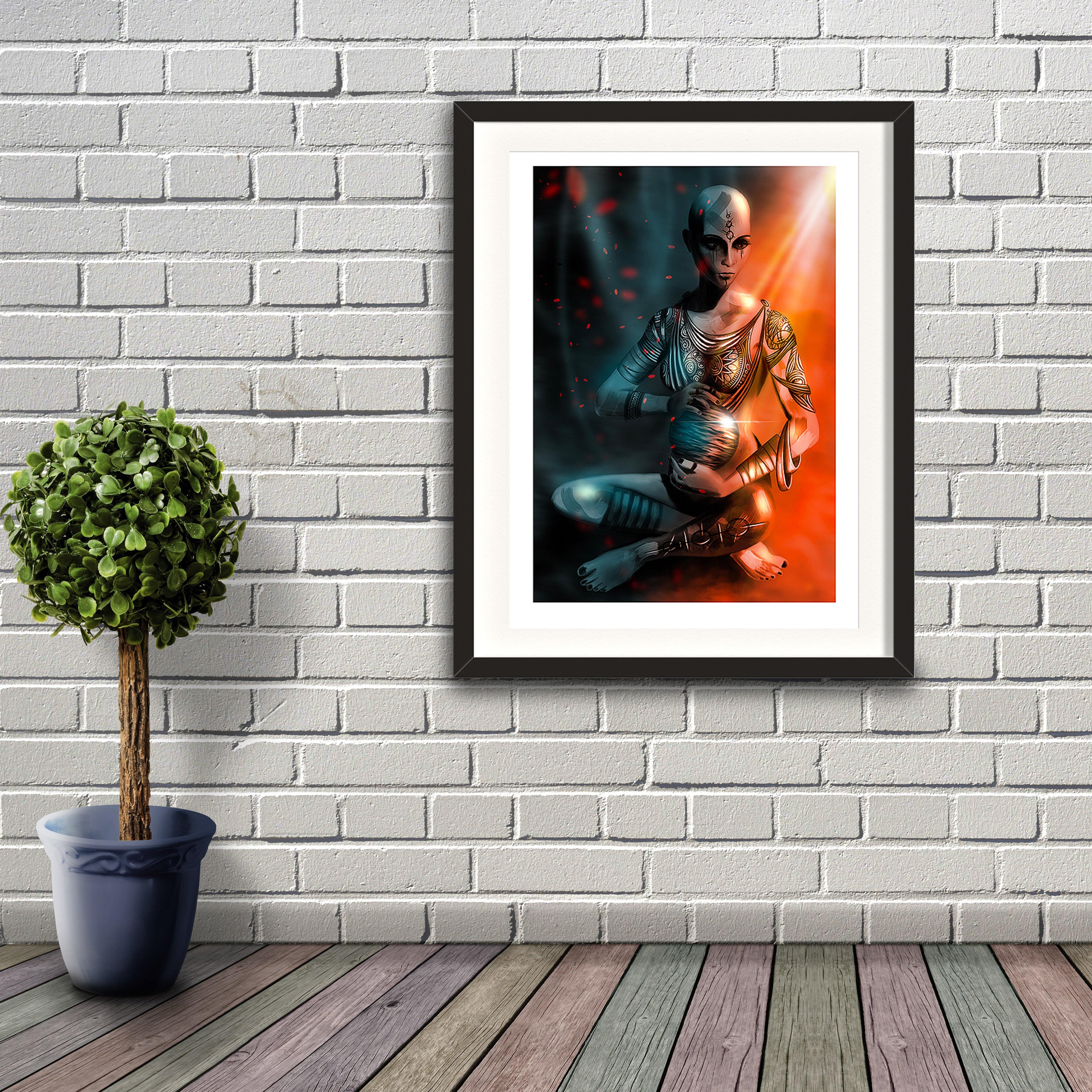 A digital painting by Lily Bourne printed on eco fine art paper titled Exist which shows a shaven headed tattooed female sitting cross legged hold a shining sphere with light cascading from above. Artwork shown in a black frame hanging on a brick wall.