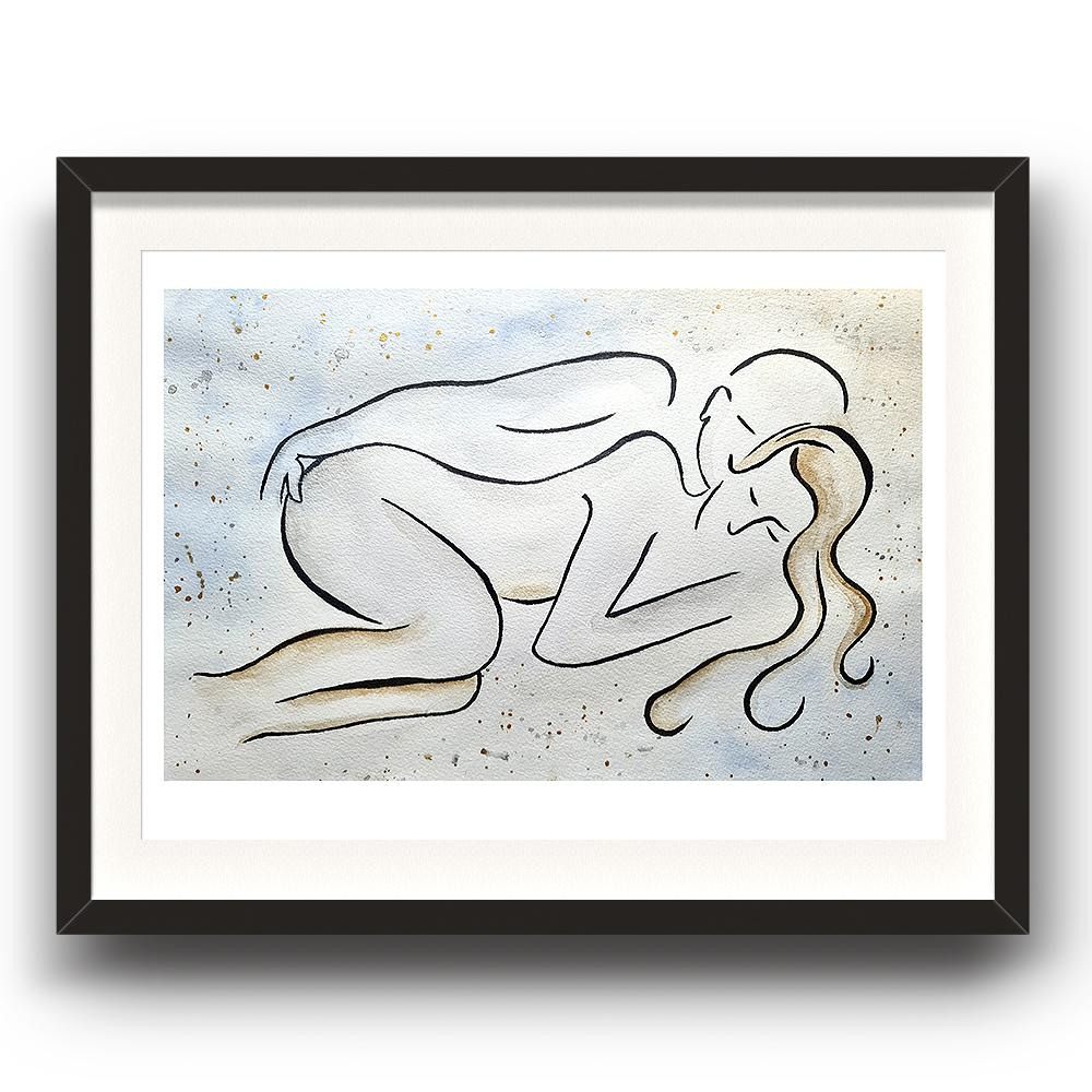 A watercolour and ink piece of art by Clarrie-Anne giclée printed on eco fine art paper titled Couple Love shown a line drawn couple lying next to each other with a watercolour wash and splash background. The image is set in a black coloured picture frame.