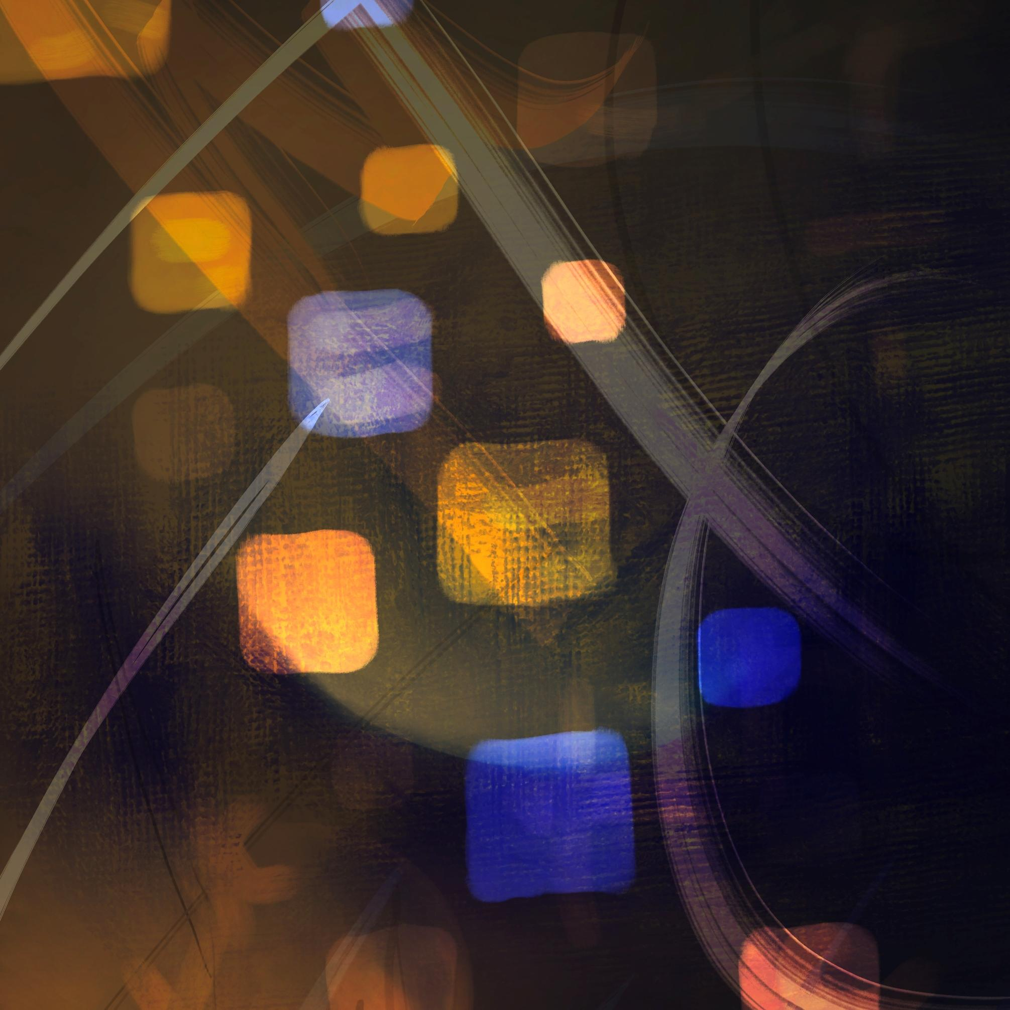 An abstract digital painting by Lily Bourne titled Abstract 2.0. Coloured with a series of shapes and stroke in blue and yellow on a brown background.