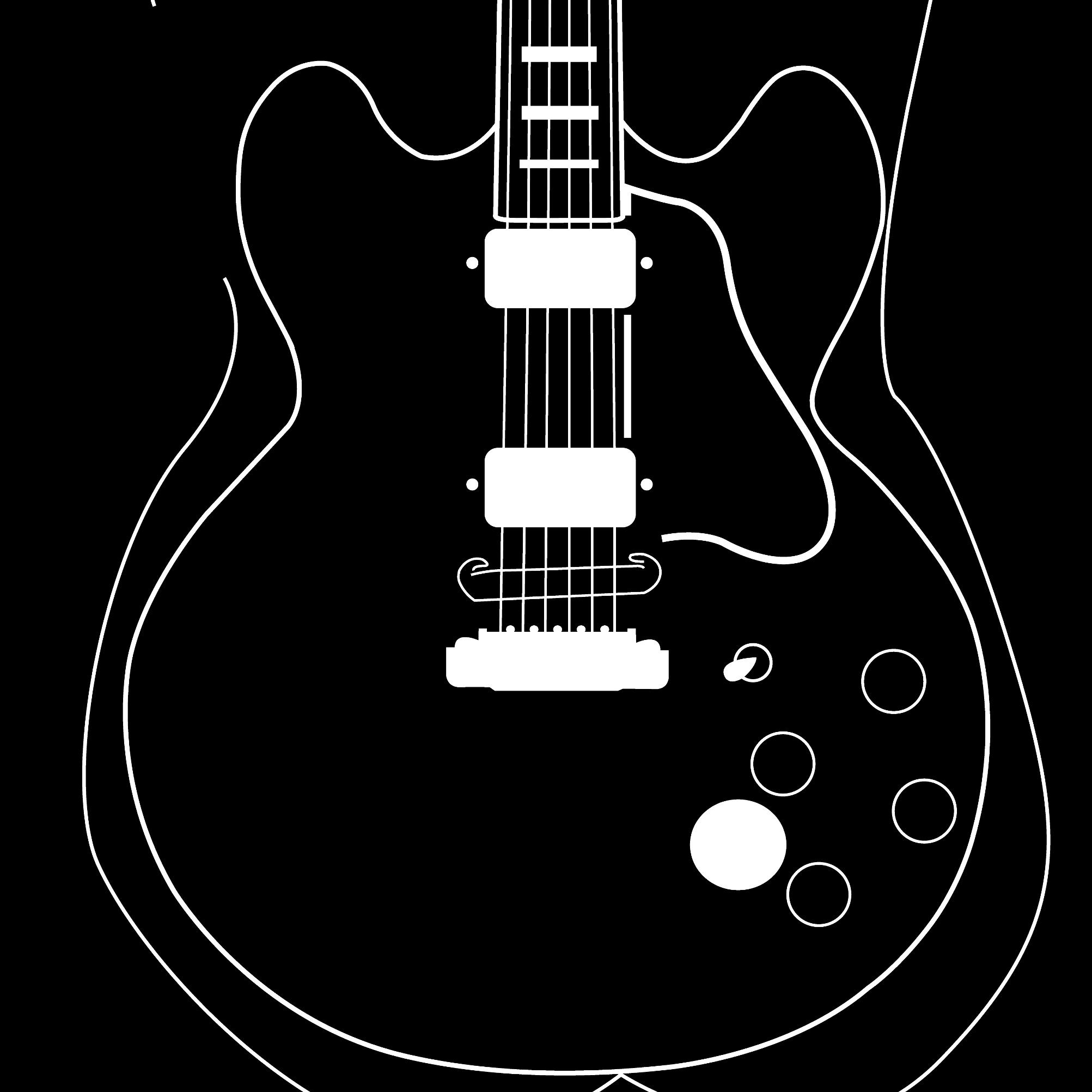 Close up of a digital illustration by Clarrie-Anne giclée printed on eco fine art paper titled Lucille. Featuring a white line outline of a female and the Gibson guitar of BB King with a black background.