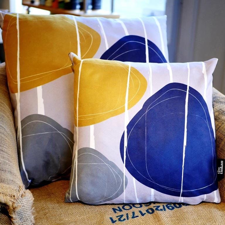 Blue, mustard yellow & grey faux suede soft feel Abstract Pebbles Cushions, 43cm & 57cm square, with luxury inner pads designed by thetinkan. VIEW PRODUCT >>
