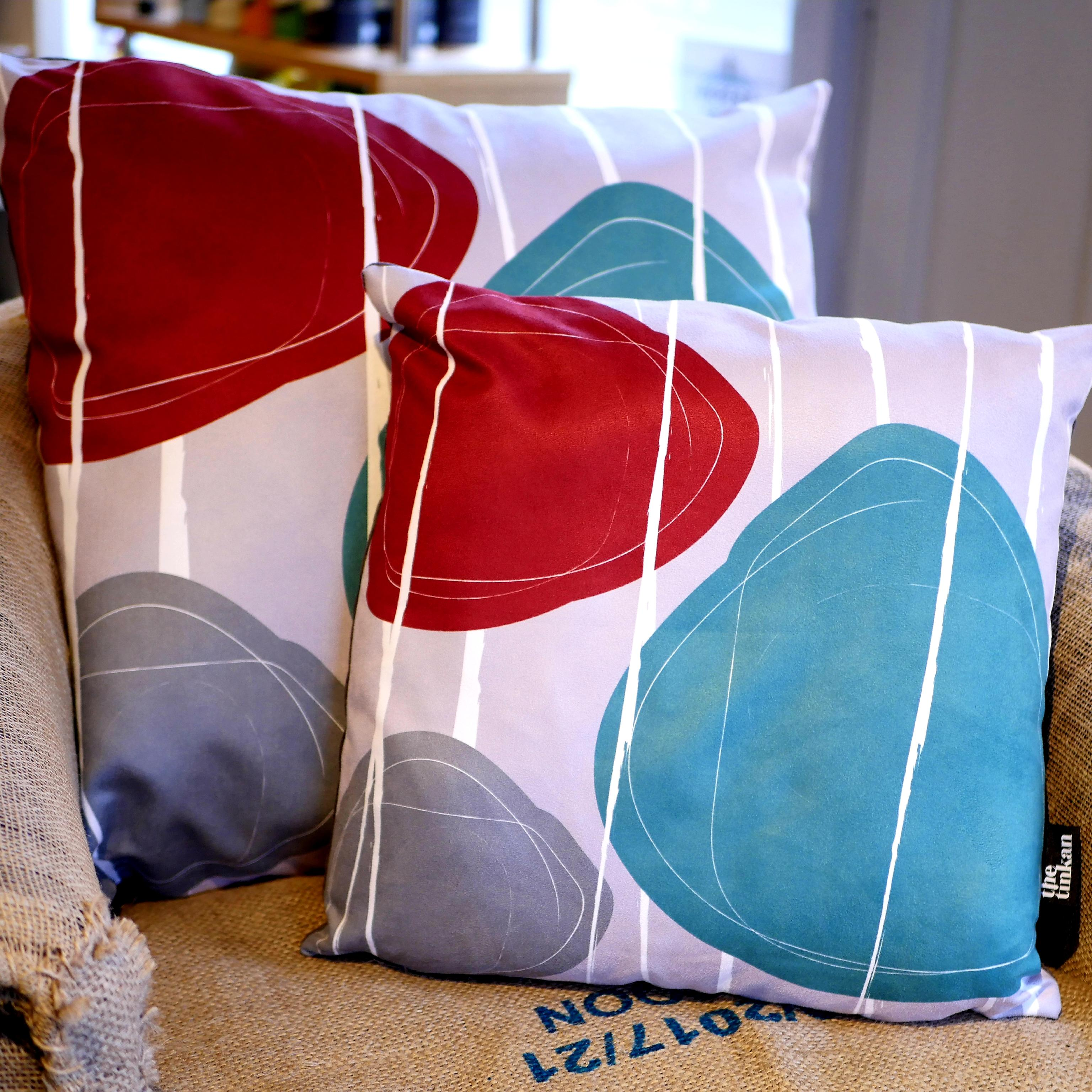 Aqua teal, red & grey faux suede soft feel Abstract Pebbles Cushions, 43cm & 57cm square, with luxury inner pads designed by thetinkan. VIEW PRODUCT >>