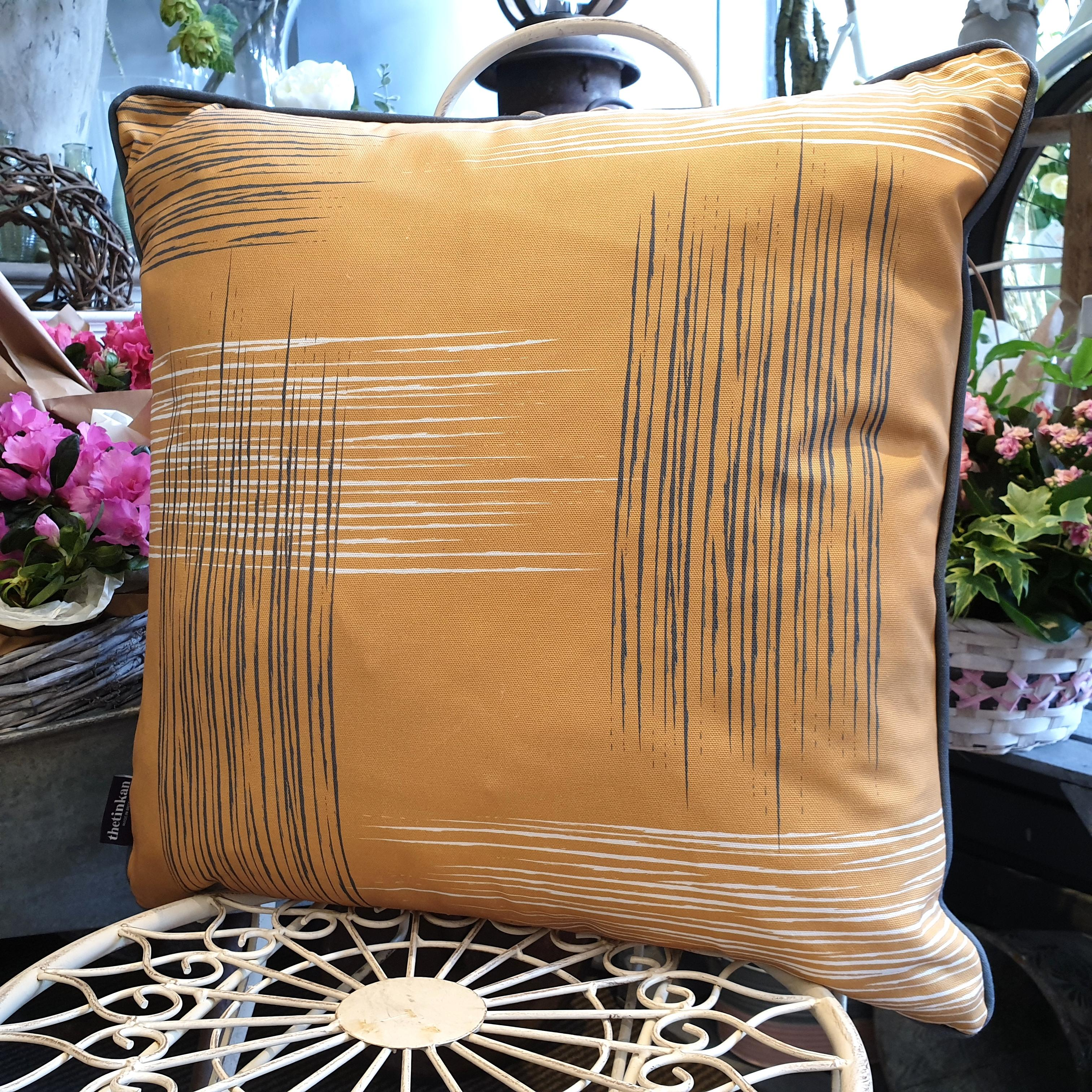 Double-sided mustard yellow 51cm square retro themed cushion with artistic grey and white shards and grey handcrafted piping designed by thetinkan. Available with an optional luxury cushion inner pad. VIEW PRODUCT >>