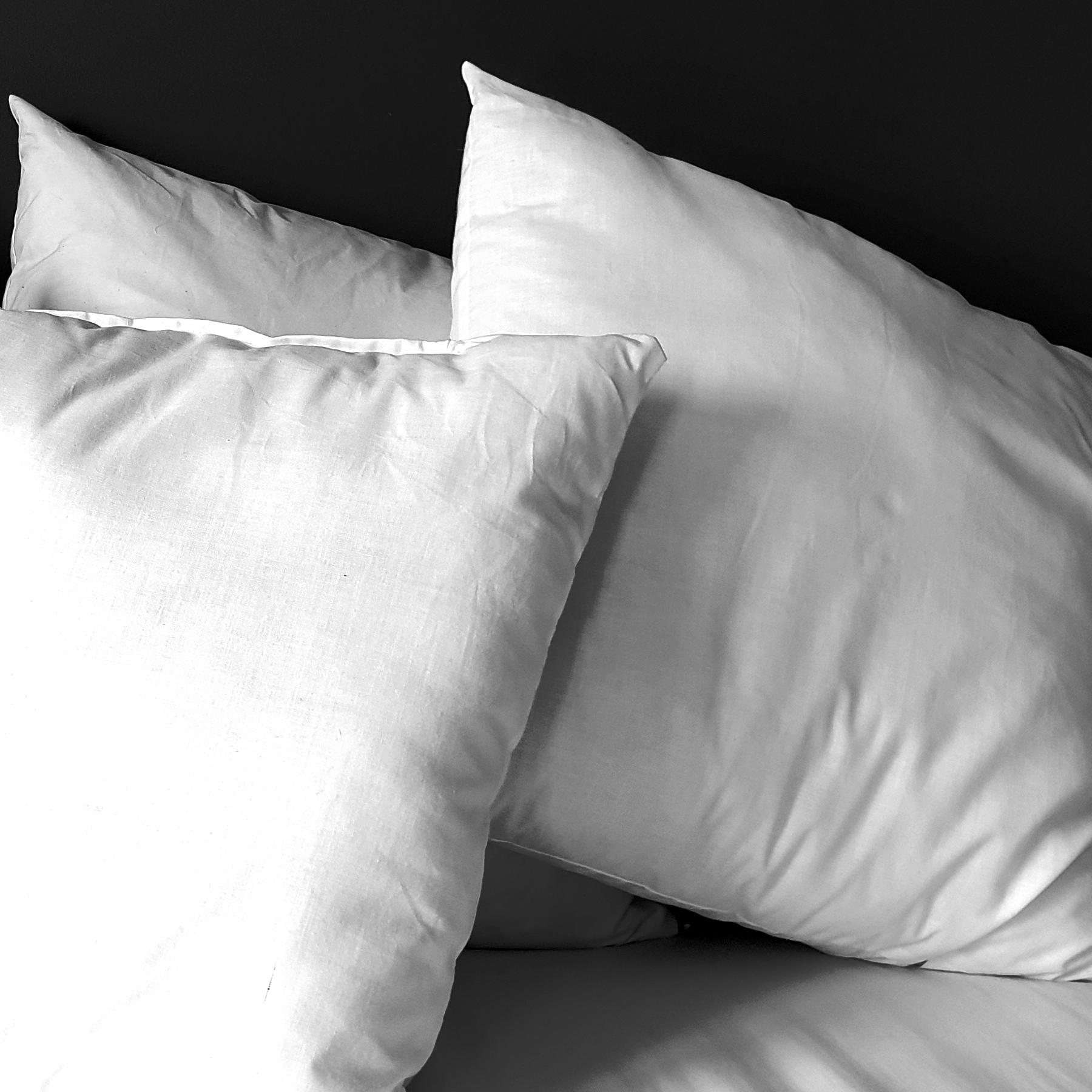 Group shot in black and white of the three main types of cushion inner pad from thetinkan. Eco-Hollowfibre, duck feather and duck feather & down.