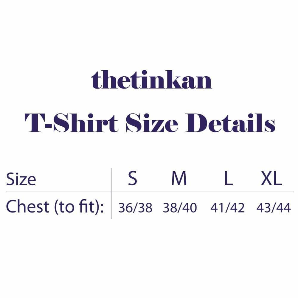 Size guide for t-shirts from thetinkan. VIEW PRODUCT >>