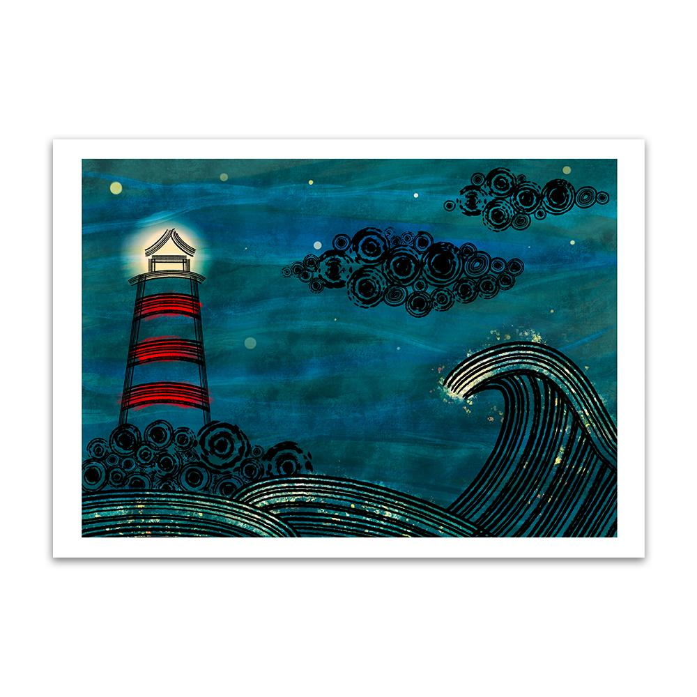 A blue themed digtal painting by Lily Bourne showing waves at sea with a red lighthouse at night and black clouds.