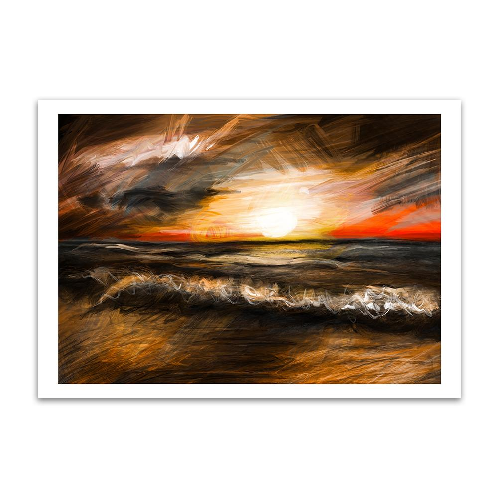 A digital painting by Lily Bourne called Sunset Waves showing a sunset with a warm orange glow as waves break on a sandy beach.