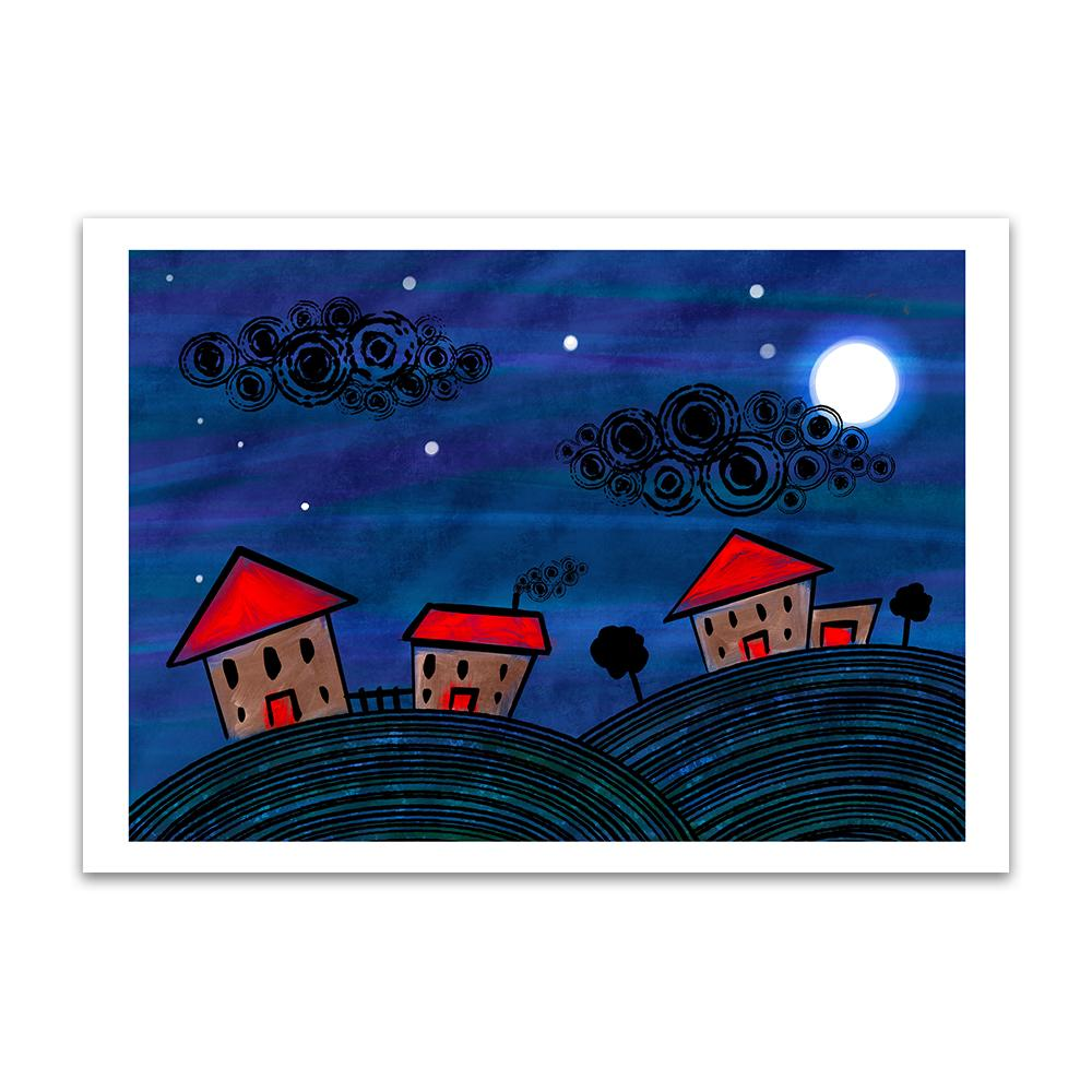 A digital painting from Lily Bourne showing an animated night scene with hill and stars in the sky and three red houses. art print of a watercolour painting called Beach Heart by Clarrie-Anne showing a textured turquoise golden sand coloured heart on a white background.