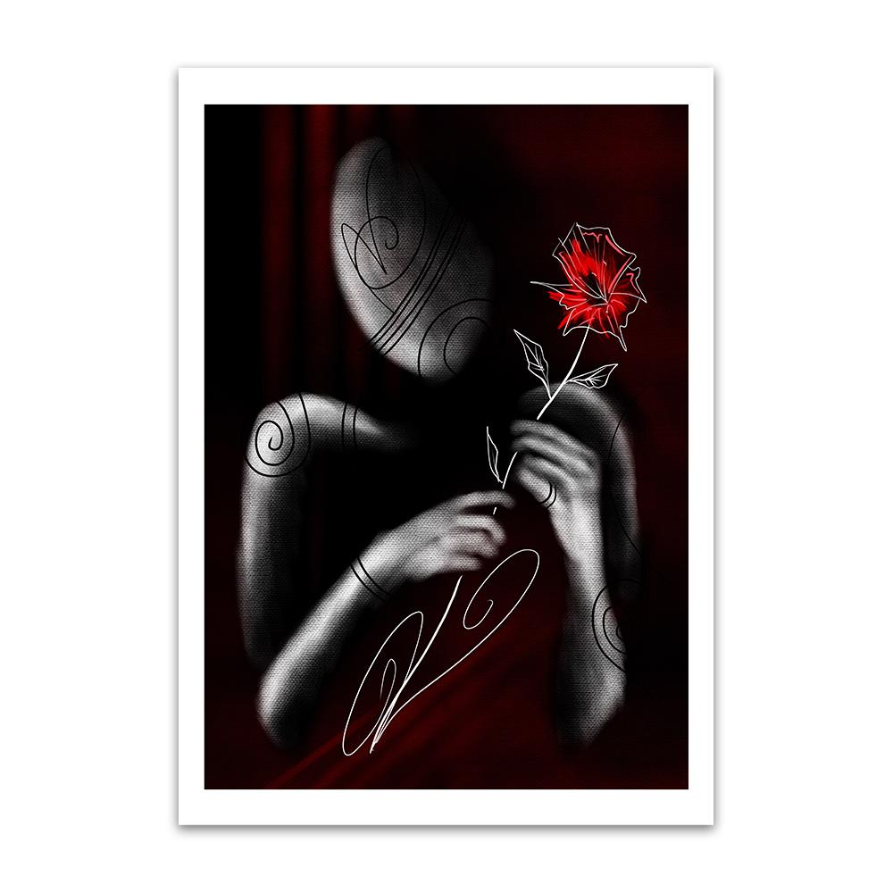 A greyscale digital painting by Lily Bourne shwing the minimalist outline of a figure presenting a red flower to viewer of the image..