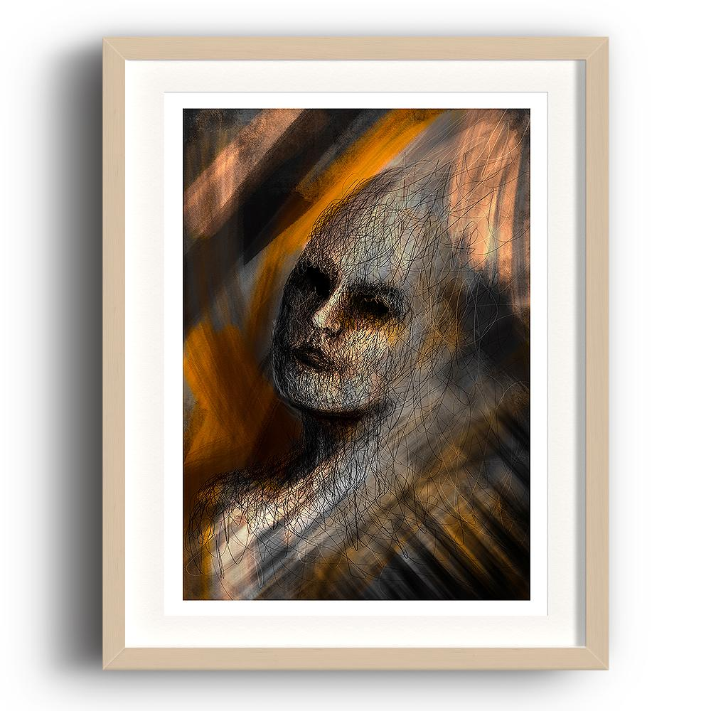 A digital painting called Composition 1.0 by Lily Bourne showing a the head of a female filled in with line art placed on a yellow and grey background with paint strokes. The image is set in a beech coloured picture frame.