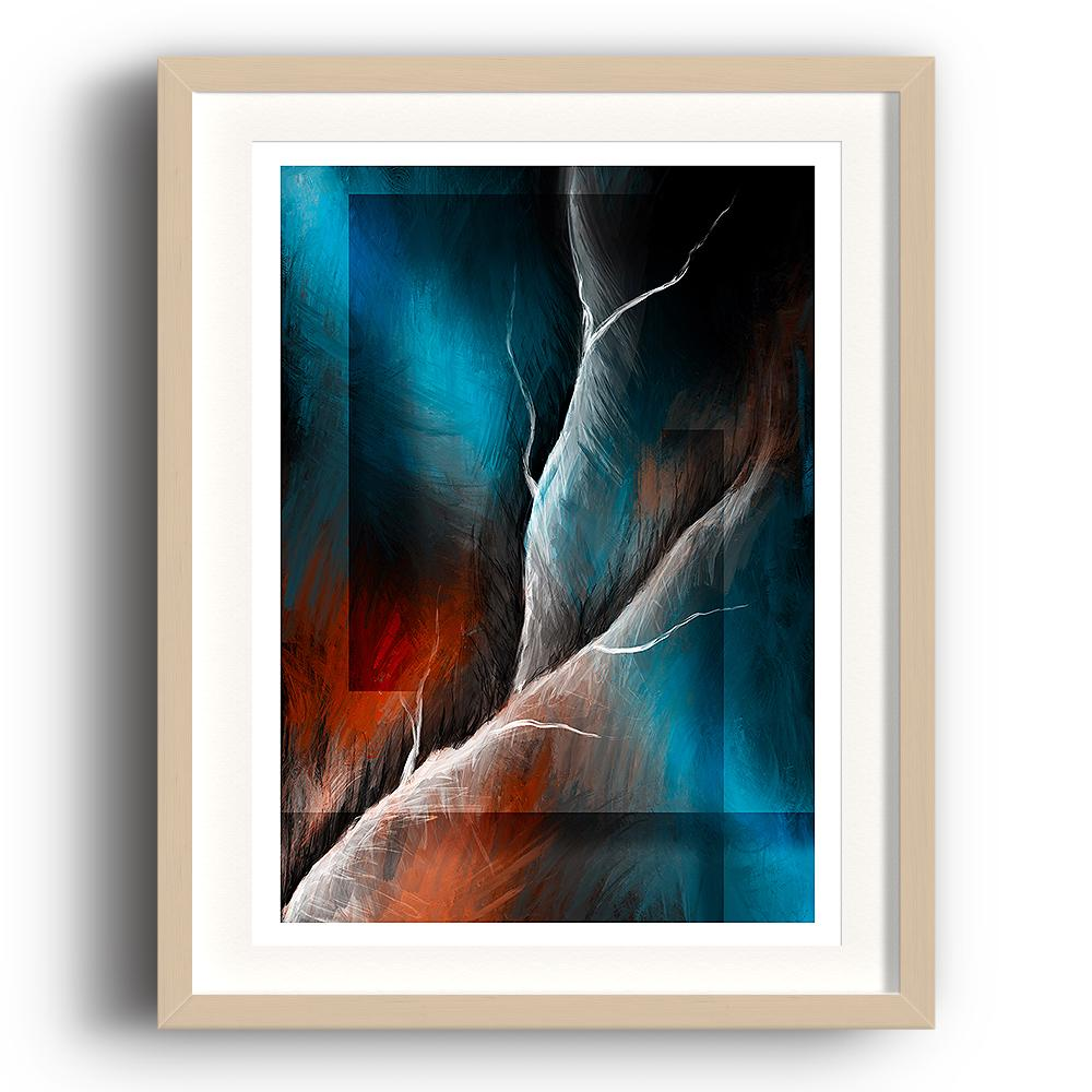 A digital painting called Structure 1.0 by Lily Bourne showing a white lightning strike through an abstract blue and orange background. The image is set in a beech coloured picture frame.