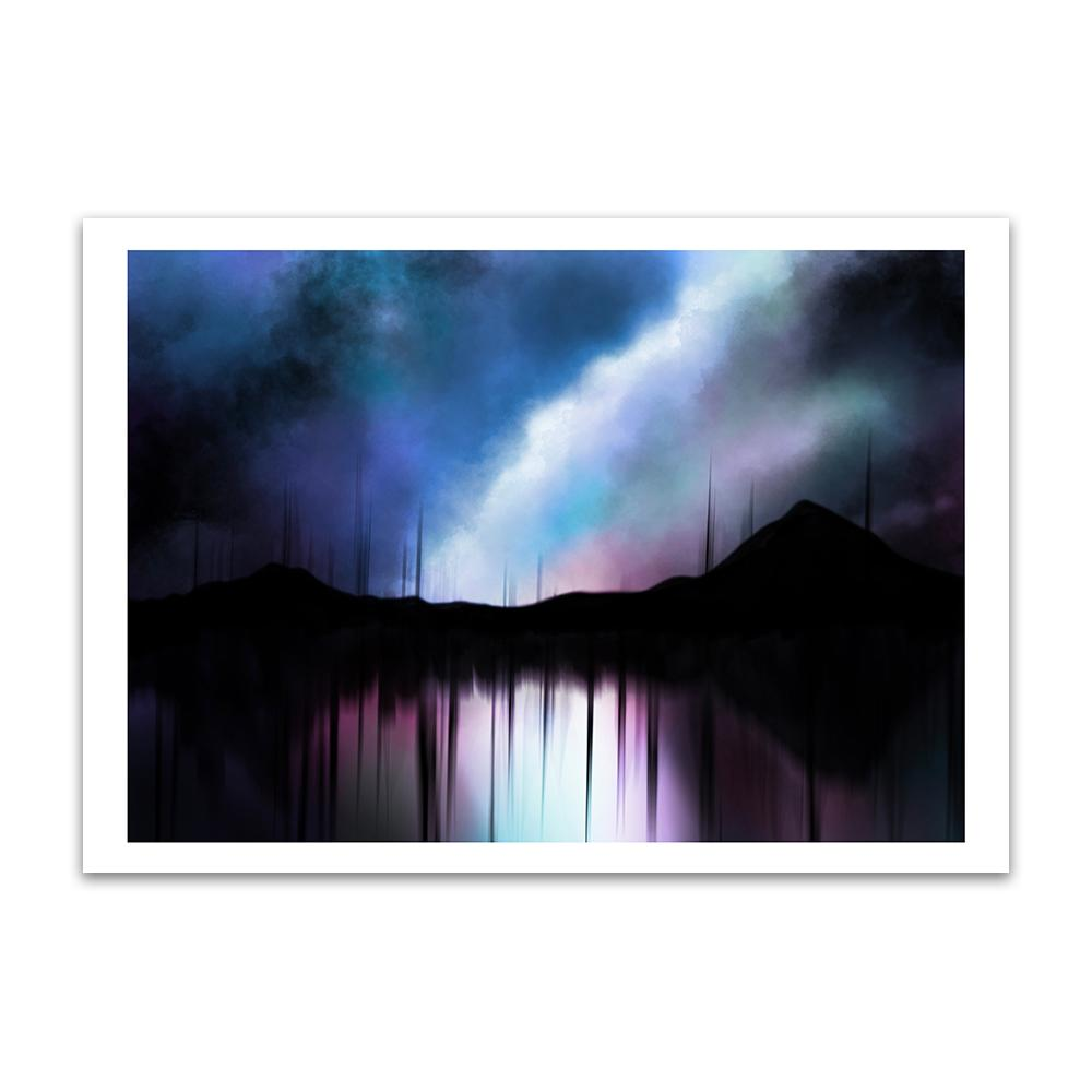 A digital painting called Reflection by Lily Bourne showing an abstract silhouette landscape of mountains at night reflected in a lake.