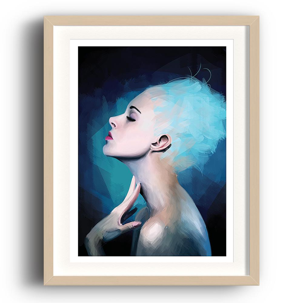A digital painting called Pensive by Lily Bourne showing a confident blue haired from the side posing for an artist. The image is set in a beech coloured picture frame.