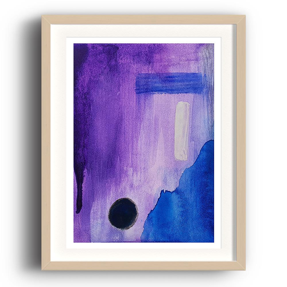 An abstract watercolour print by Clarrie-Anne on eco fine art paper titled Darkness With Open Eyes showing a purple blue and black design.  The image is set in a beech coloured picture frame.