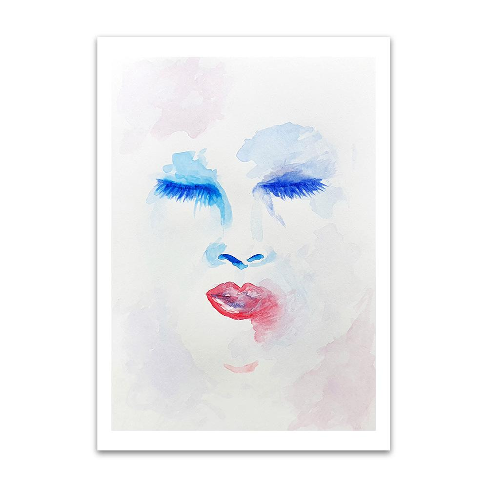 A watercolour print by Clarrie-Anne on eco fine art paper titled Delusion showing a red and blue outlined female face with eyes and lips on a atercolour wash background.