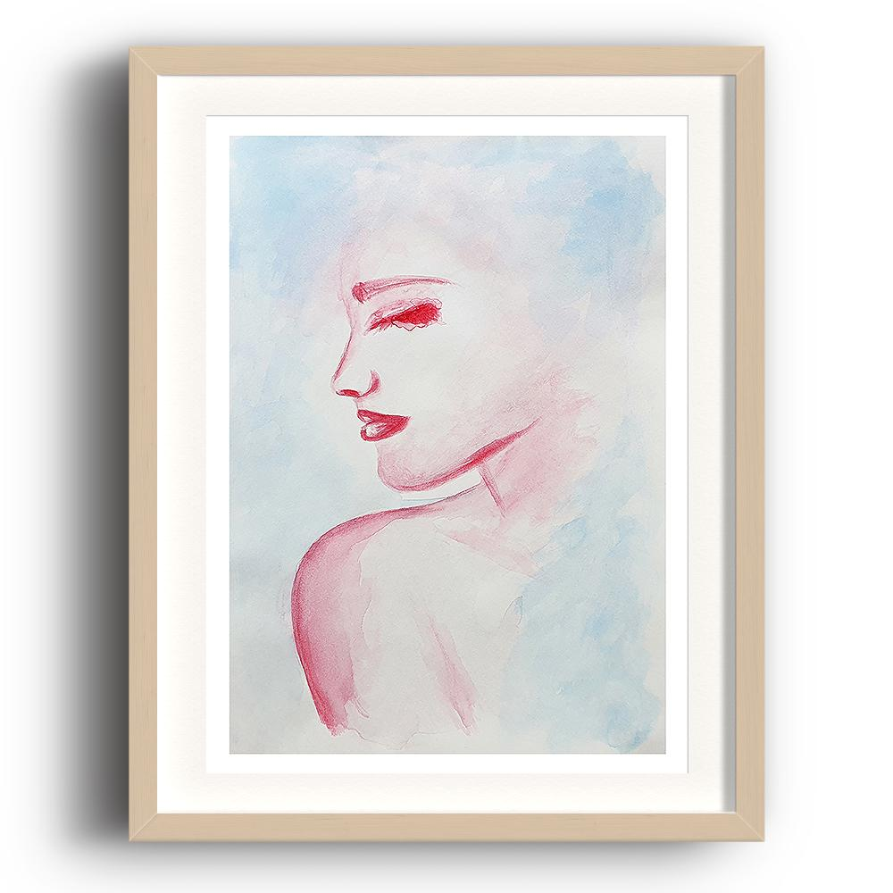 A watercolour print by Clarrie-Anne on eco fine art paper titled Solitude showing the head and shoulder of a female looking right painted in red with a blue wash background. The image is set in a beech coloured picture frame.