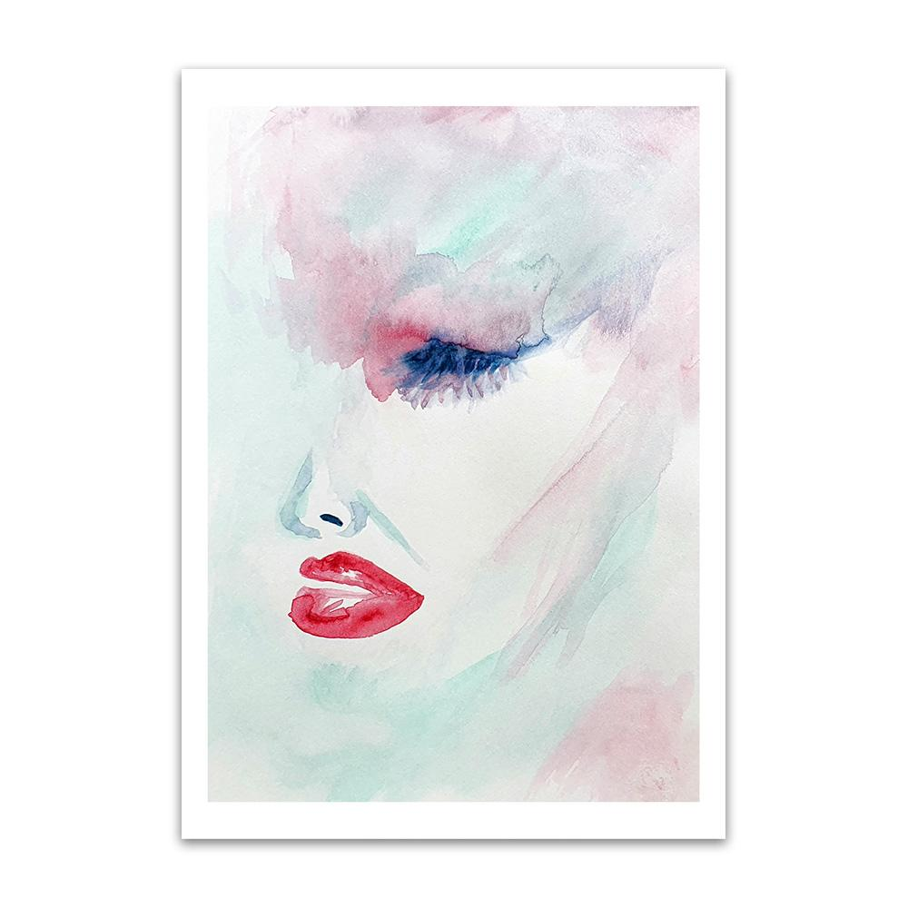 A watercolour print by Clarrie-Anne on eco fine art paper titled Wistful showing the side of a female face in red, green and blue with a wash backgorund.