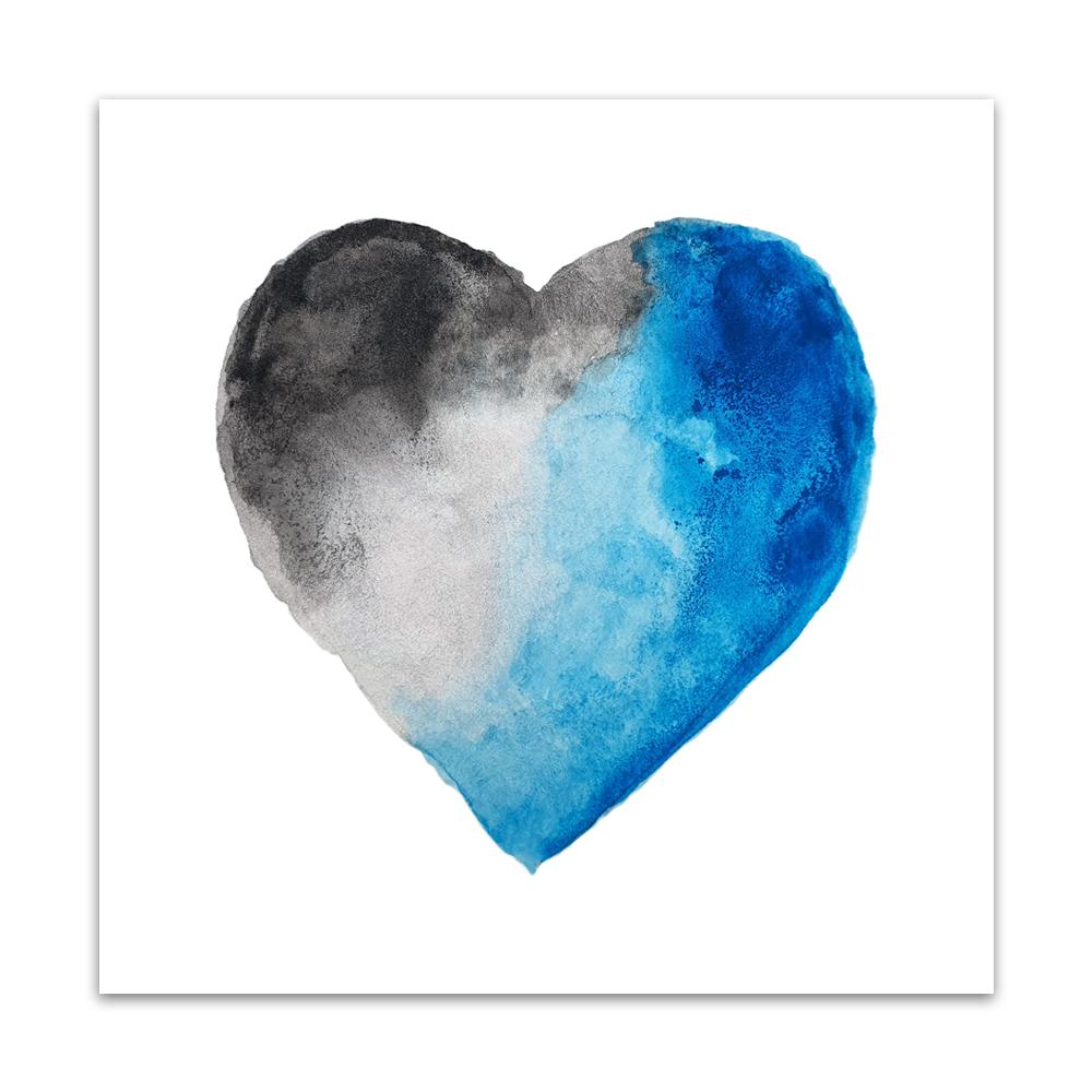 A watercolour print by Clarrie-Anne on eco fine art paper titled Thunder Heart showing a blue and greyscale watercolour heart on a white background.