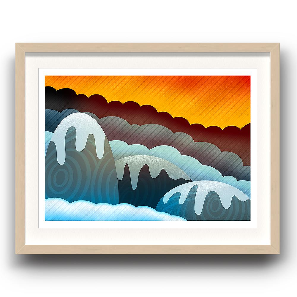 A digital painting called Mountain Glow by Lily Bourne showing an orange sky with snow covered rounded animated mountains. The image is set in a beech coloured picture frame.