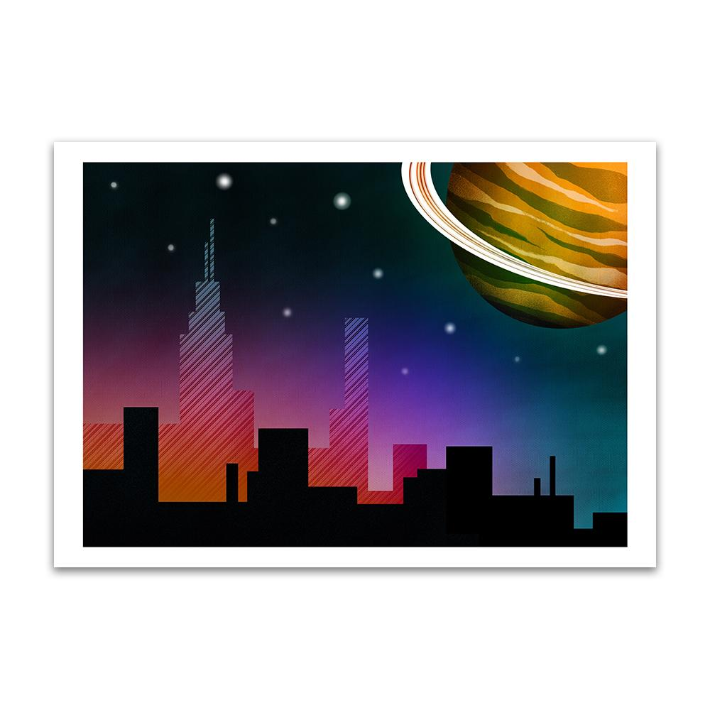 A digital painting called Planet Skyline by Lily Bourne showing a nearby animated ringed planet over a city skyline.