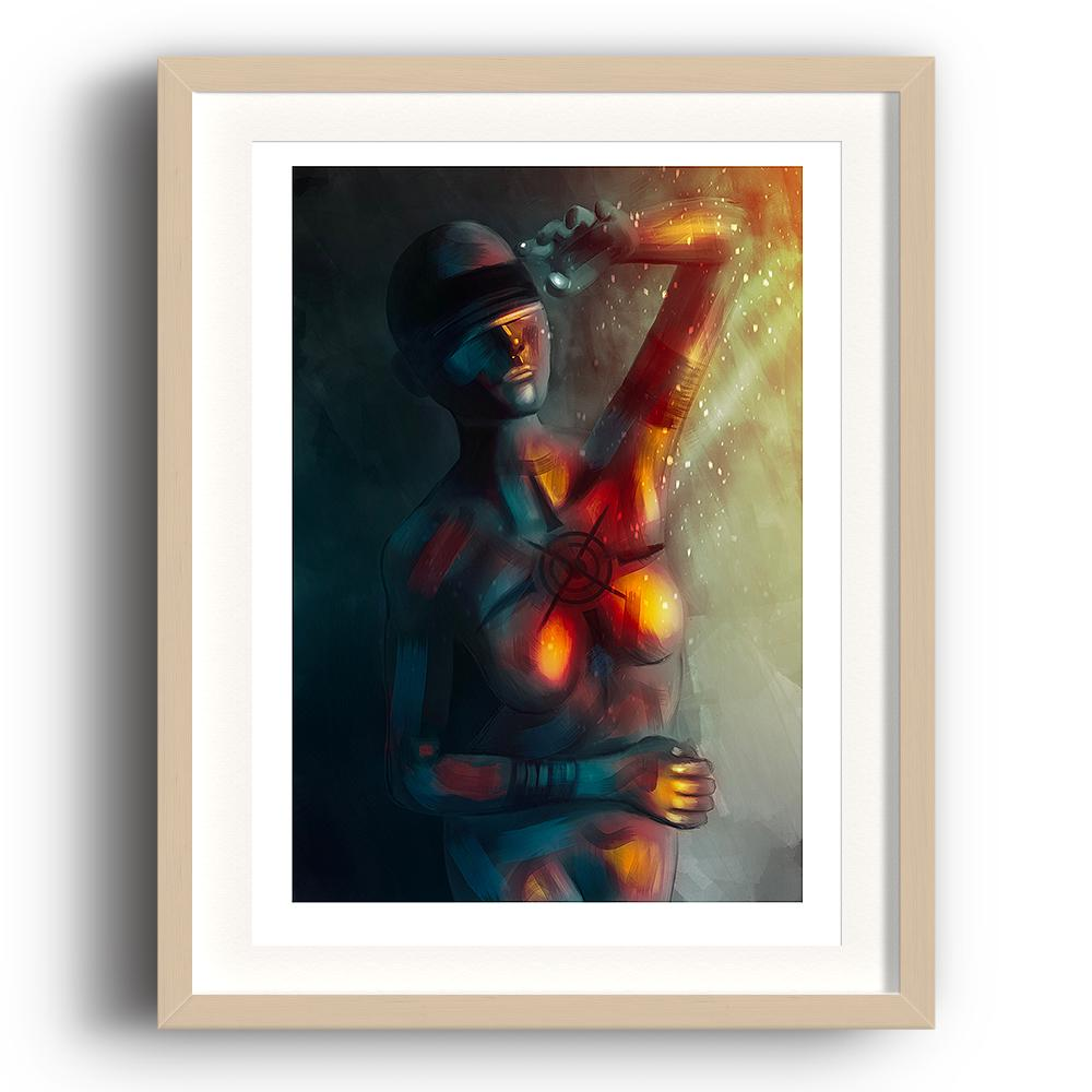 A digital painting by Lily Bourne printed on eco fine art paper titled Enlightened Moment showing an abstract blindfolded woman shielding herself from bright light and warmth. The image is set in a beech coloured picture frame.